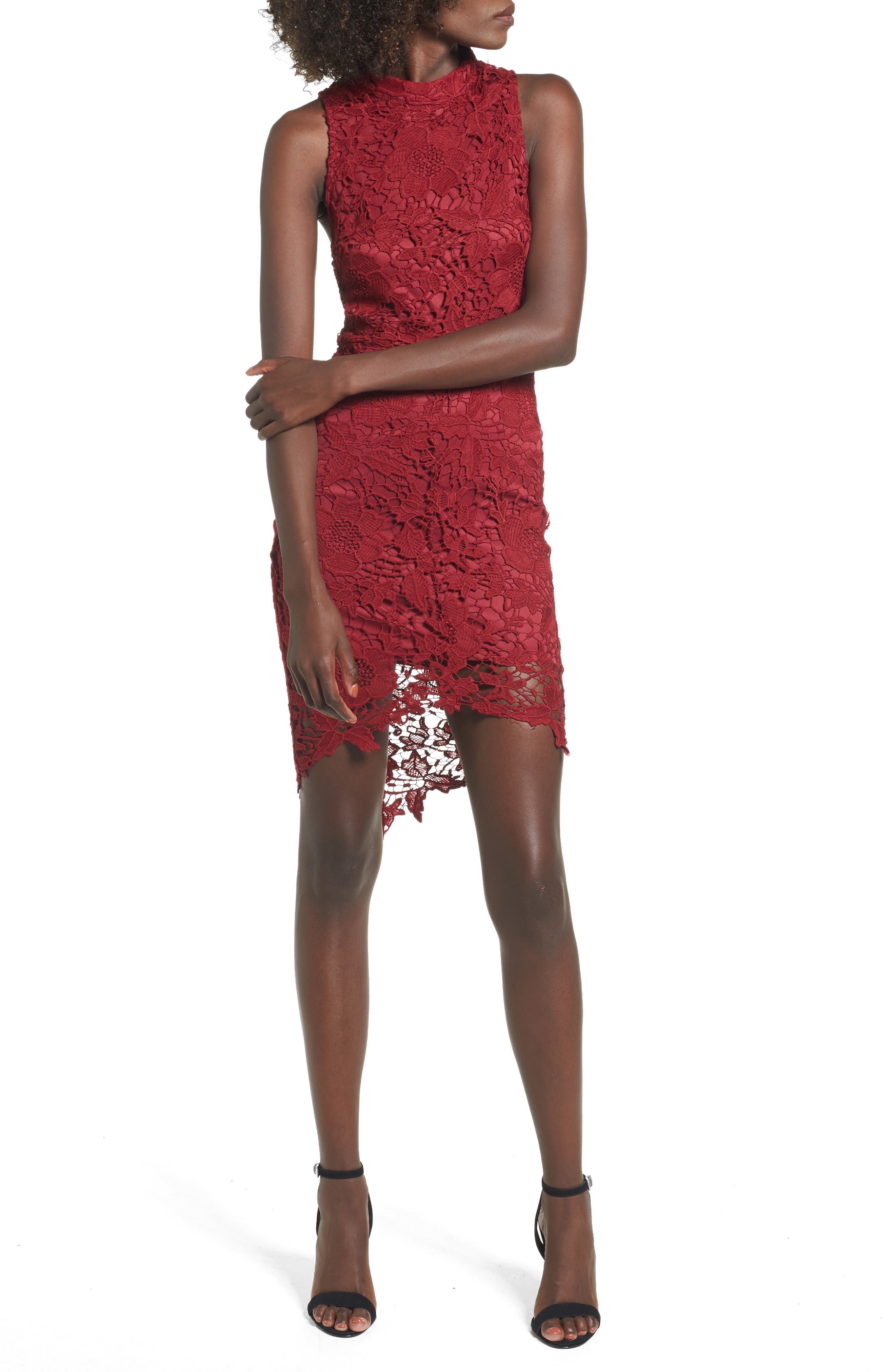 'Samantha' Lace Dress,                         Main,                         color, Wine