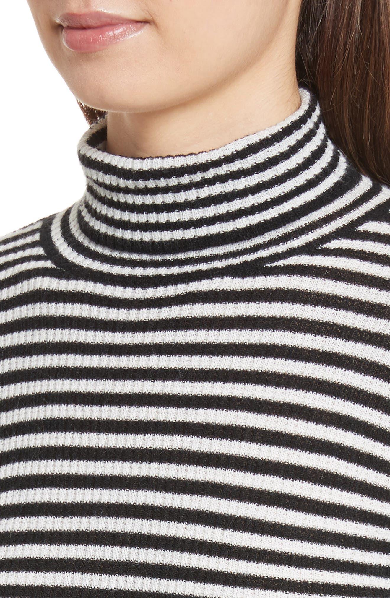 Zelene Stripe Cowl Neck Sweater,                             Alternate thumbnail 4, color,                             Caviar/ Porceclain