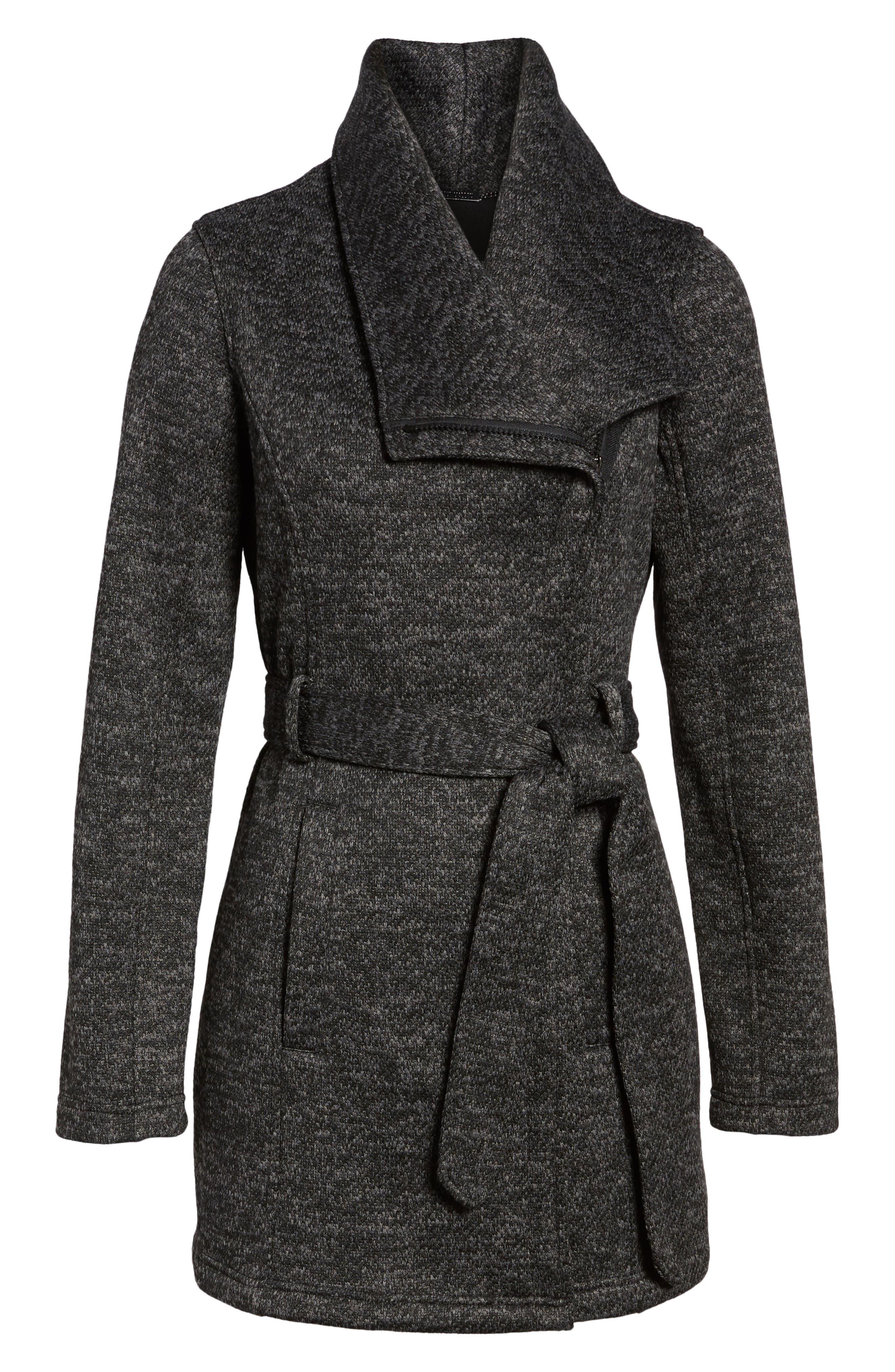 Fleece Wrap Coat,                             Alternate thumbnail 6, color,                             Charcoal Heather