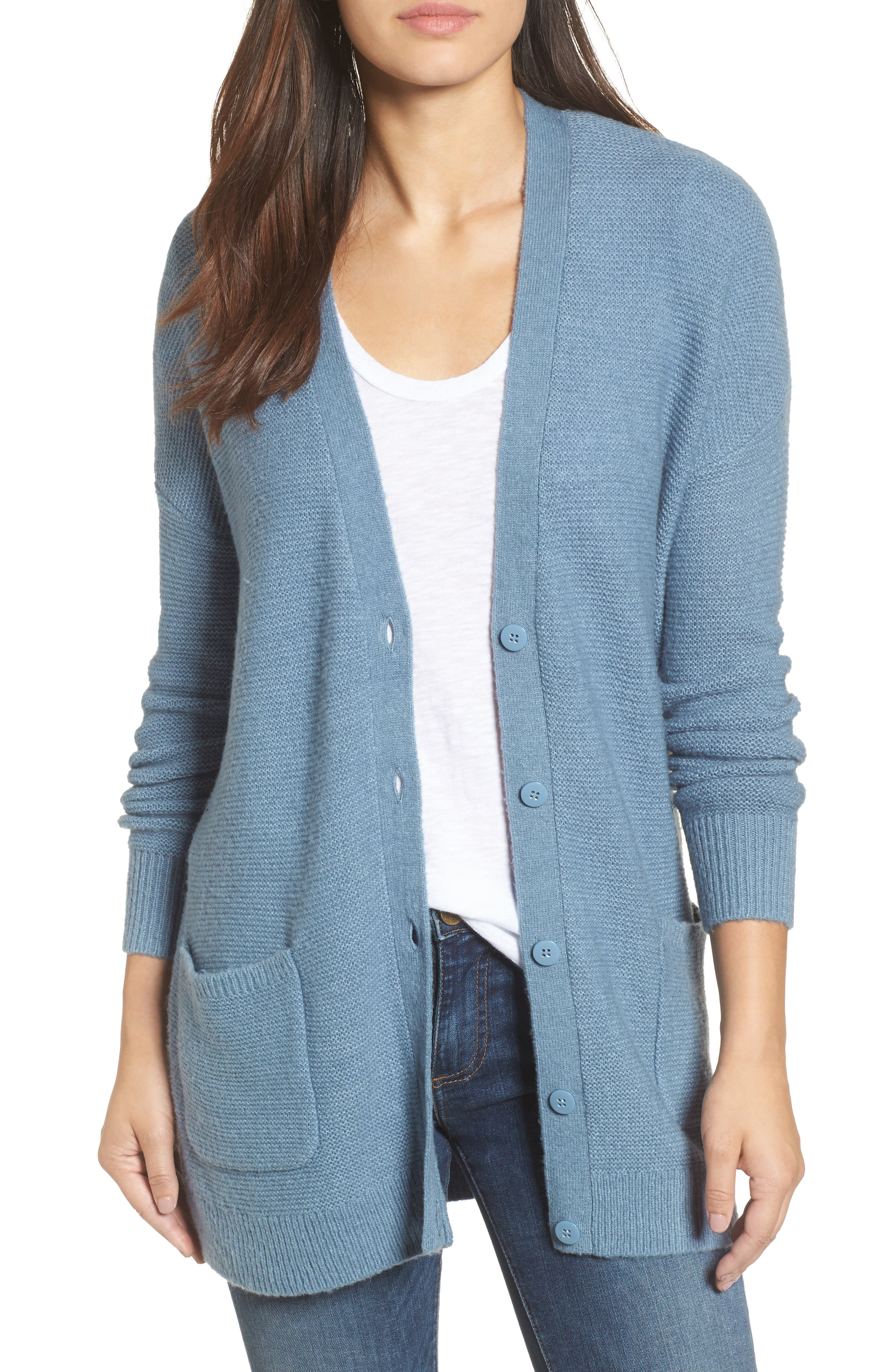 Relaxed Boyfriend Cardigan,                         Main,                         color, Blue