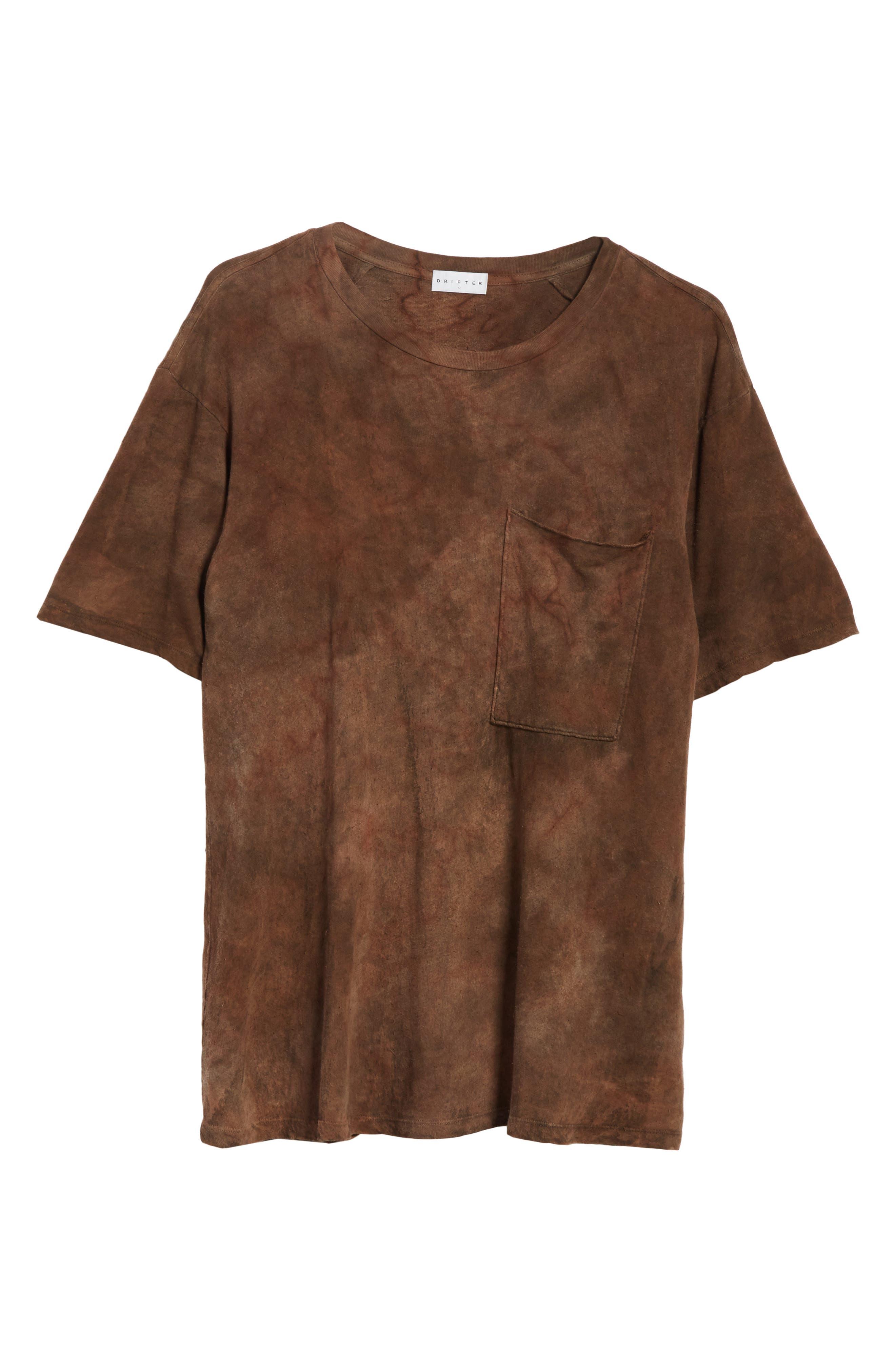 Granite Tie Dye Linen Blend T-Shirt,                             Alternate thumbnail 6, color,                             Sephia Rain