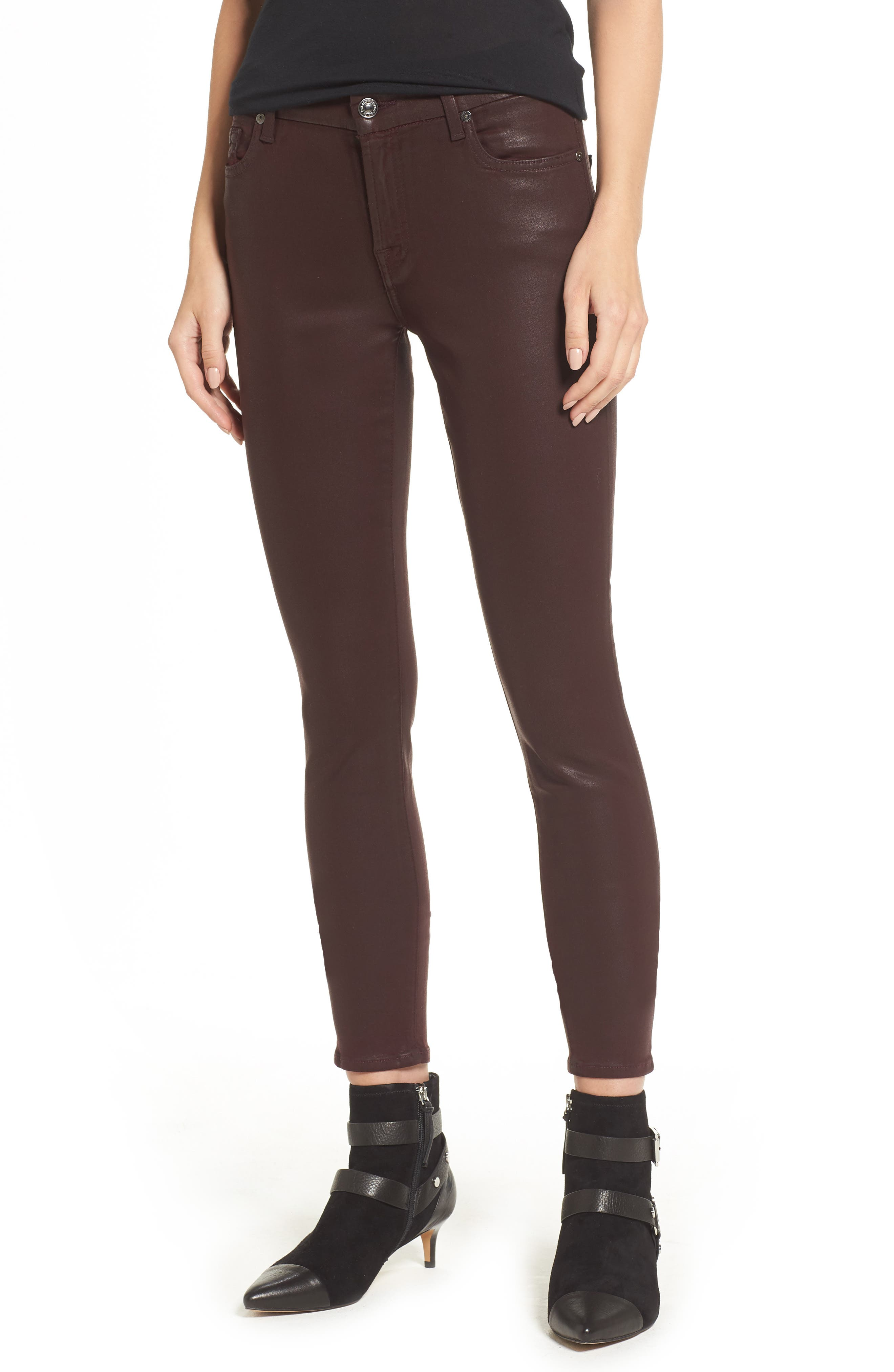 Coated Ankle Skinny Jeans,                             Main thumbnail 1, color,                             Scarlet