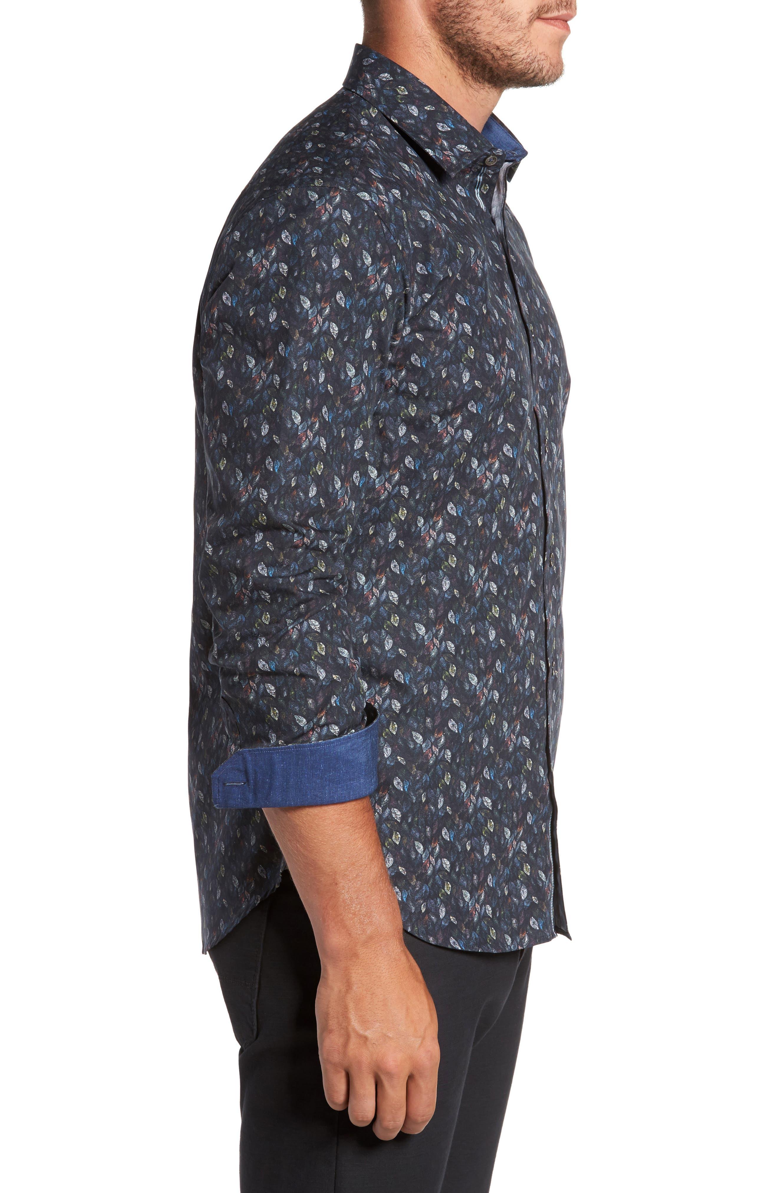 Alternate Image 3  - Bugatchi Trim Fit Leaf Print Sport Shirt