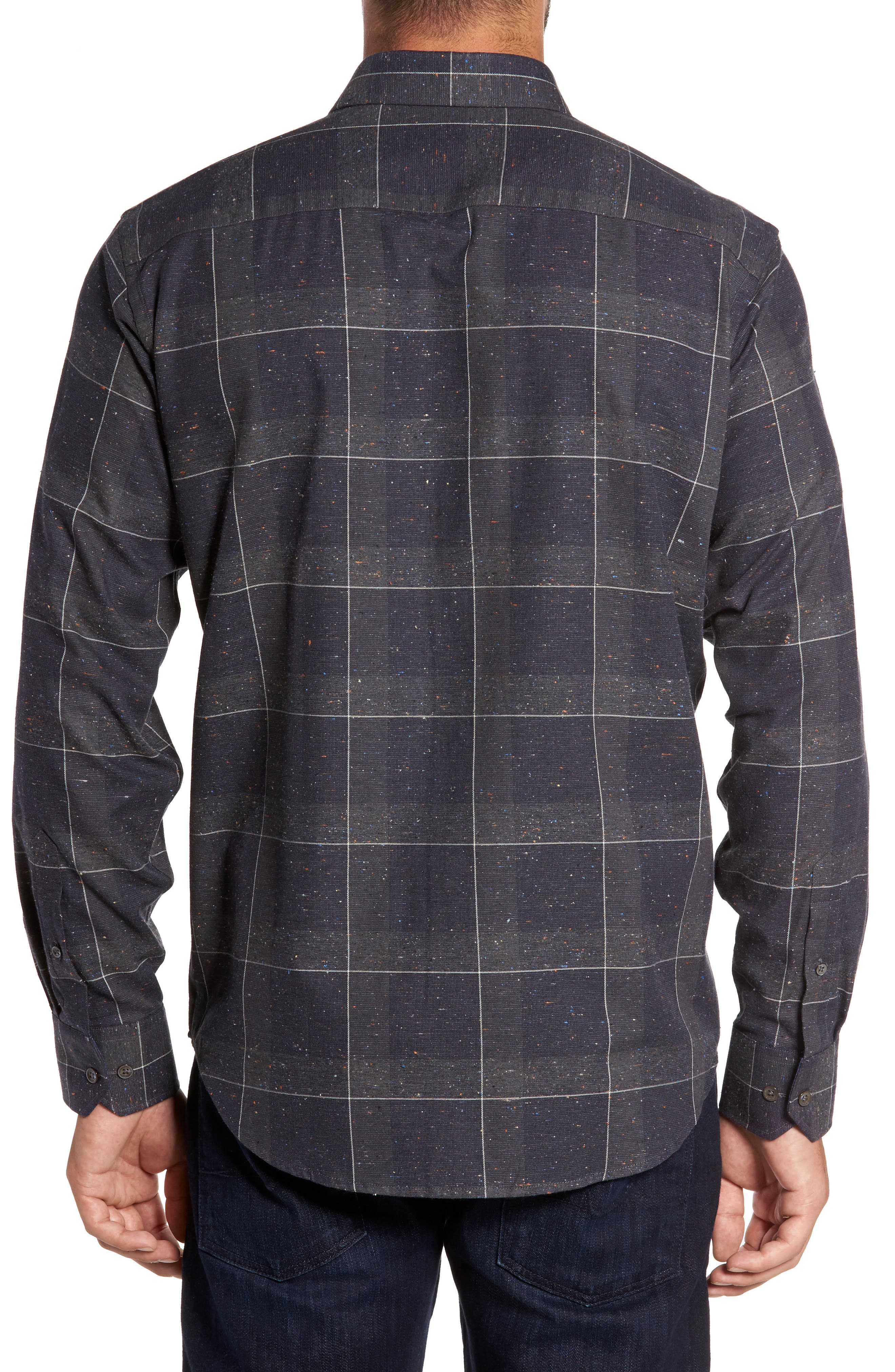 Alternate Image 2  - Bugatchi Classic Fit Slubbed Tattersall Sport Shirt