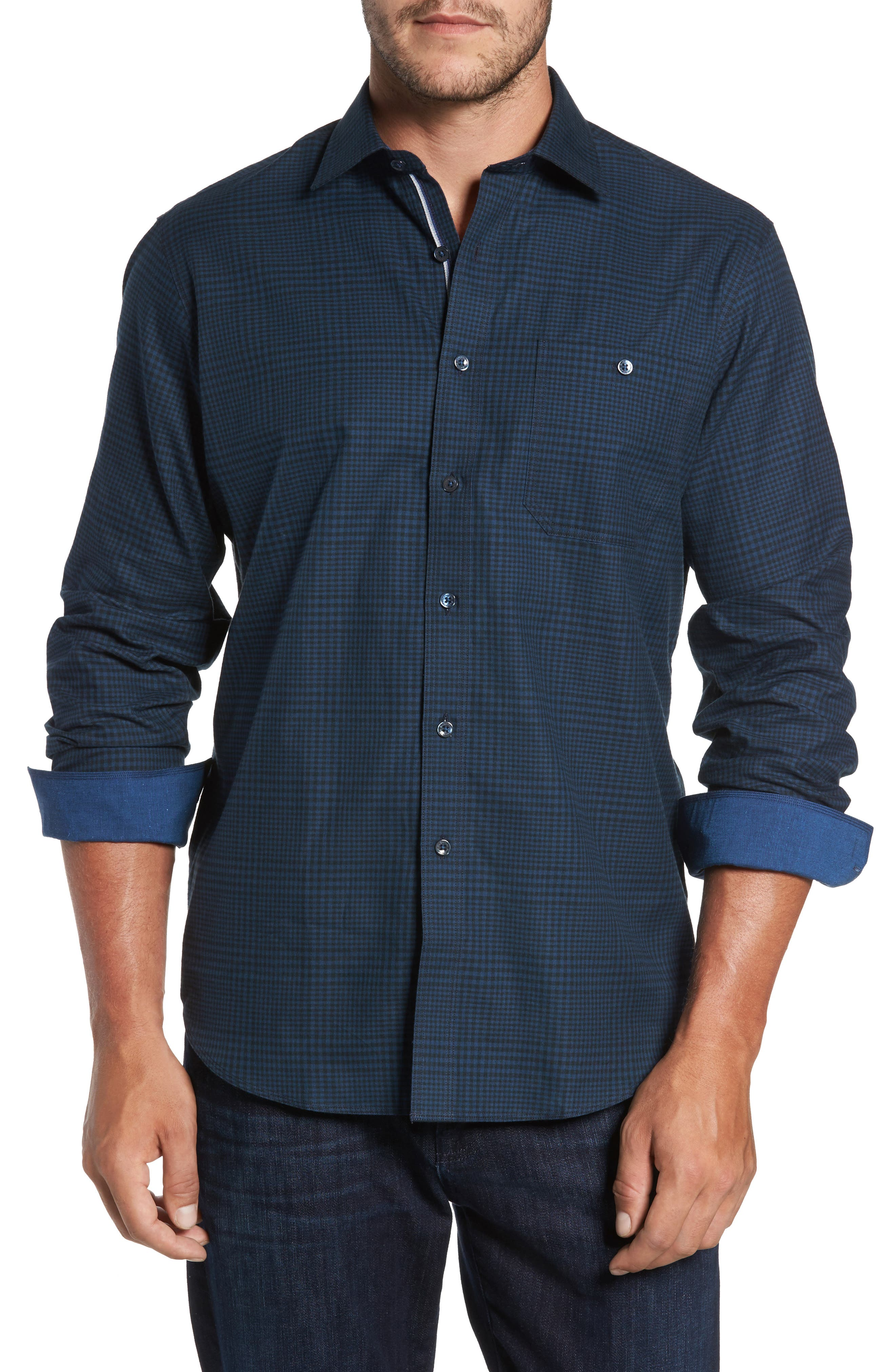 Classic Fit Glen Plaid Sport Shirt,                         Main,                         color, Midnight