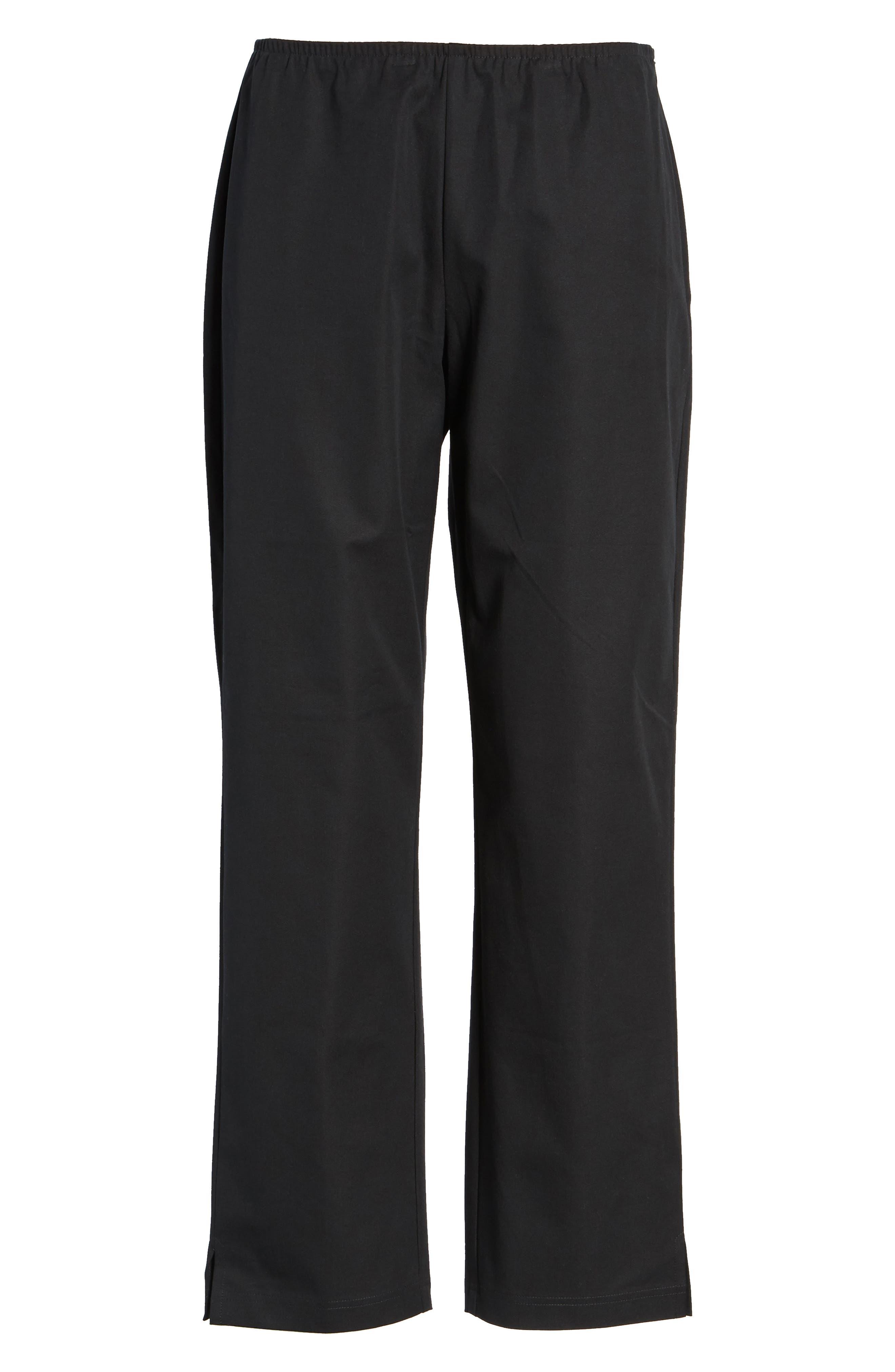 Organic Stretch Cotton Twill Ankle Pants,                             Alternate thumbnail 3, color,                             Black