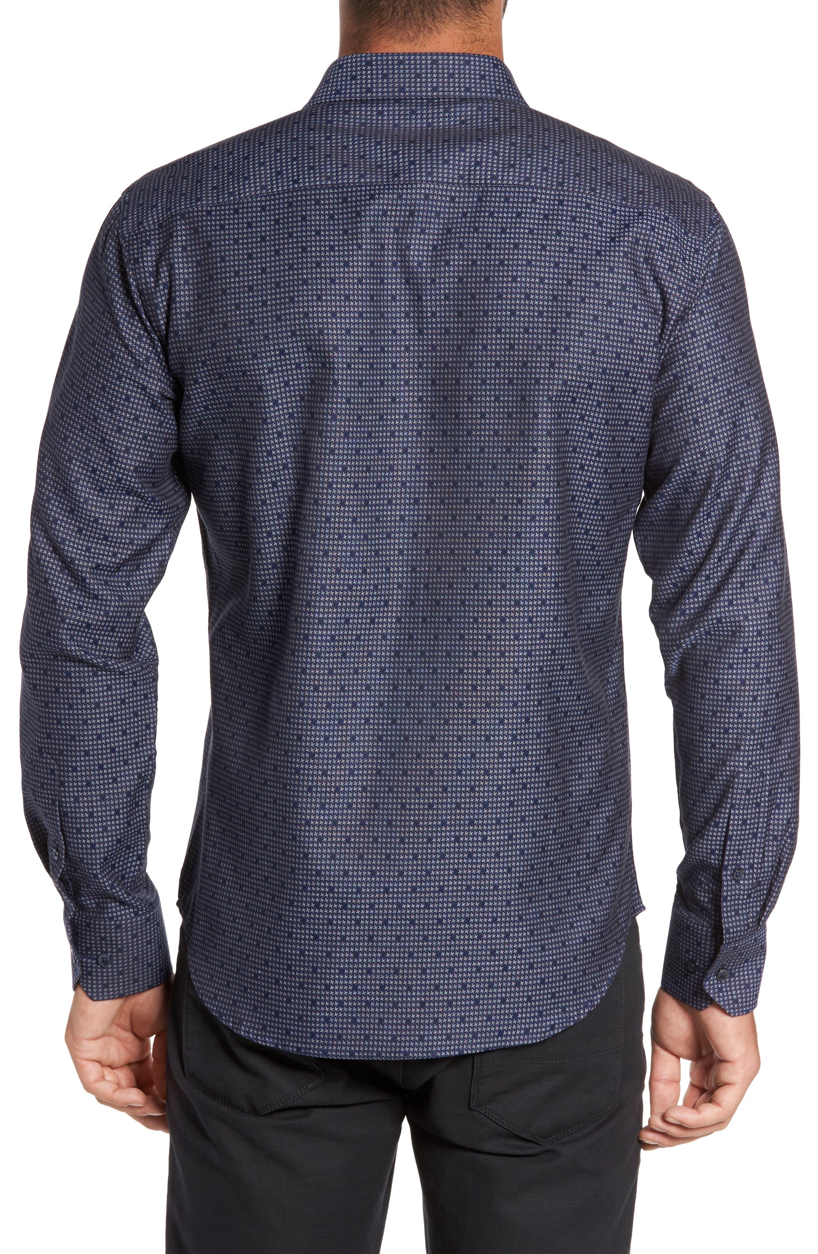 Alternate Image 2  - Bugatchi Trim Fit Dot Houndstooth Sport Shirt