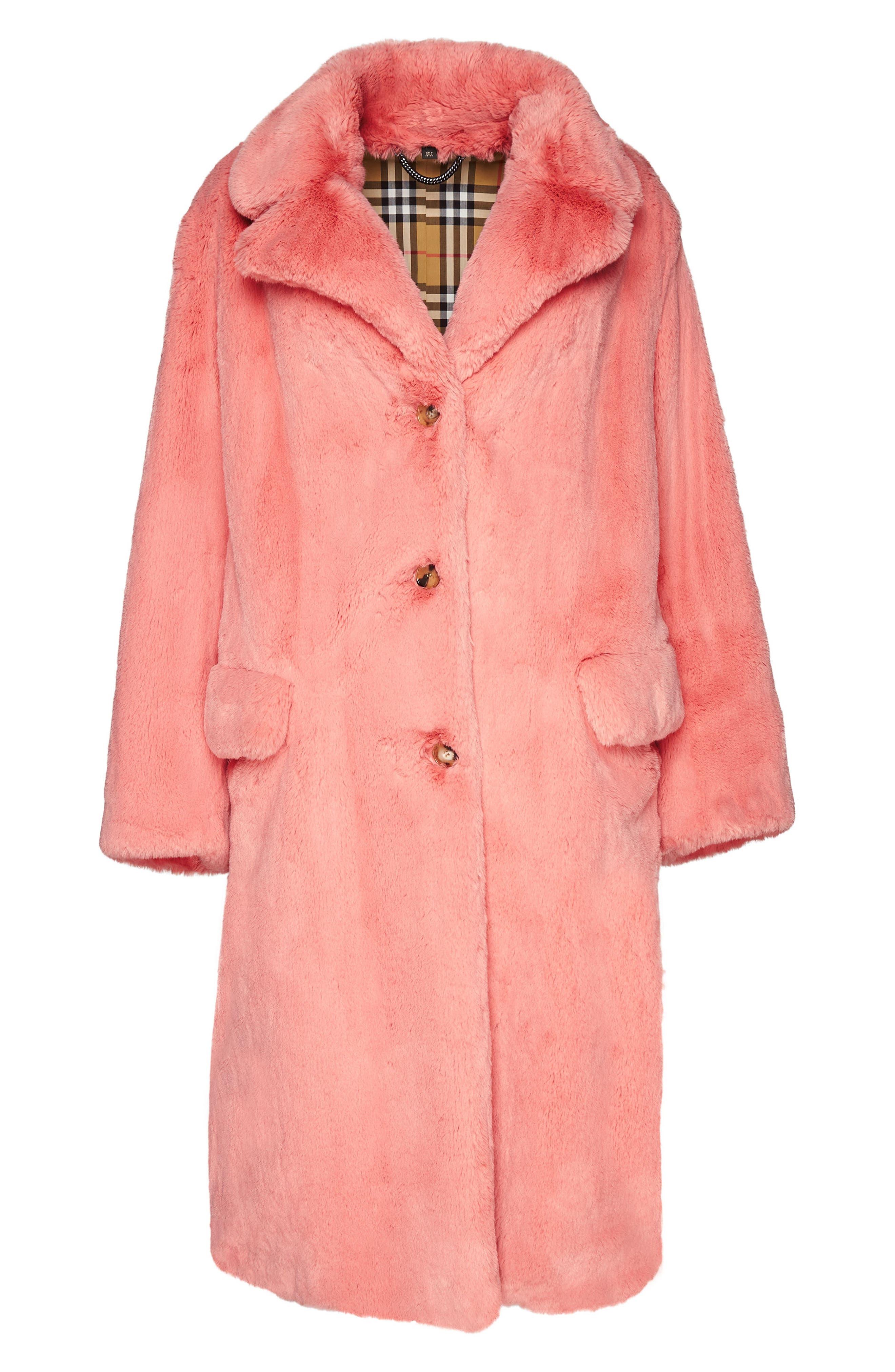 Faux Fur Coat,                             Alternate thumbnail 5, color,                             Pale Pink