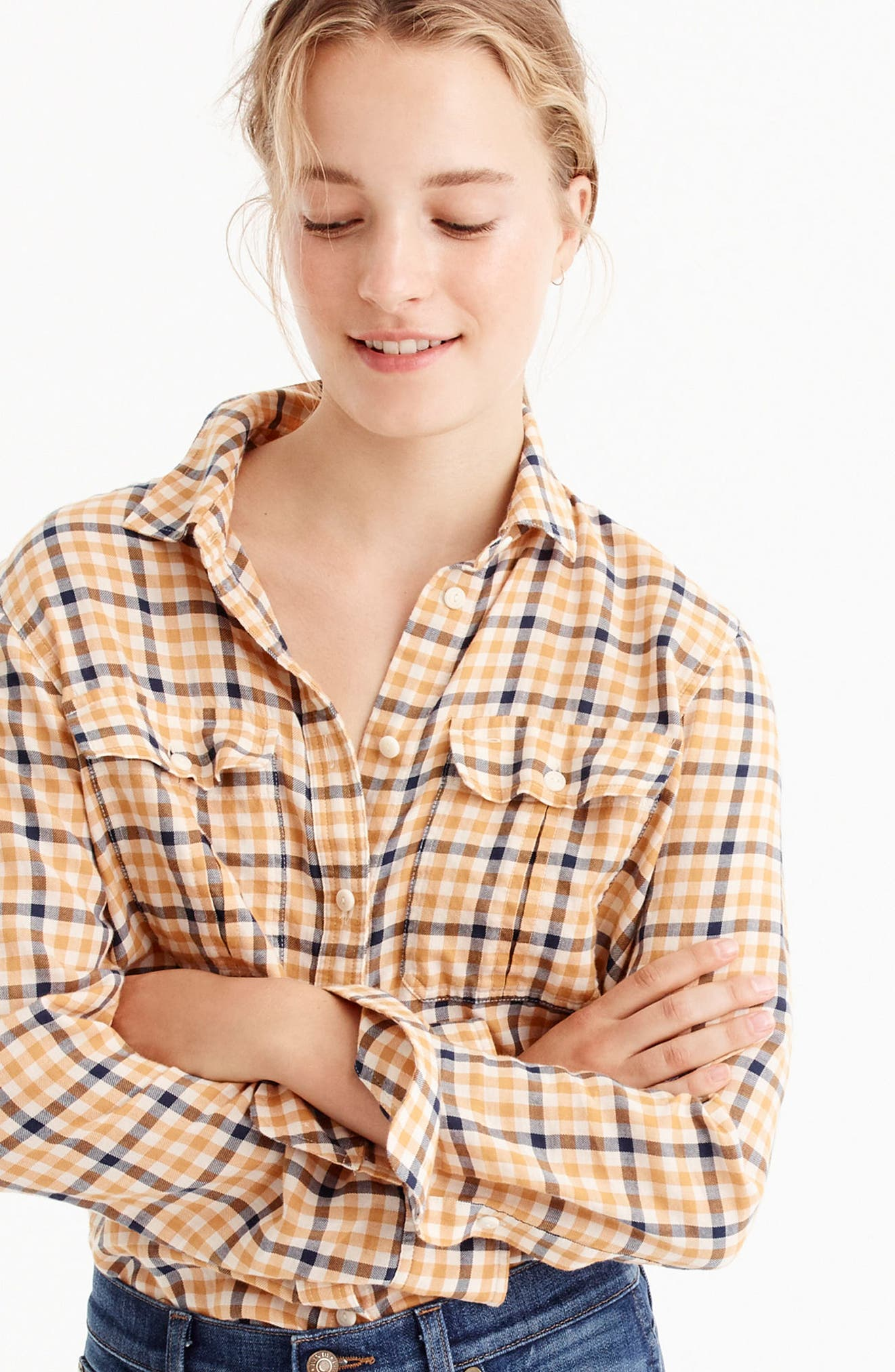 J.Crew Topaz Plaid Boyfriend Shirt,                             Alternate thumbnail 3, color,                             Bronzed Topaz