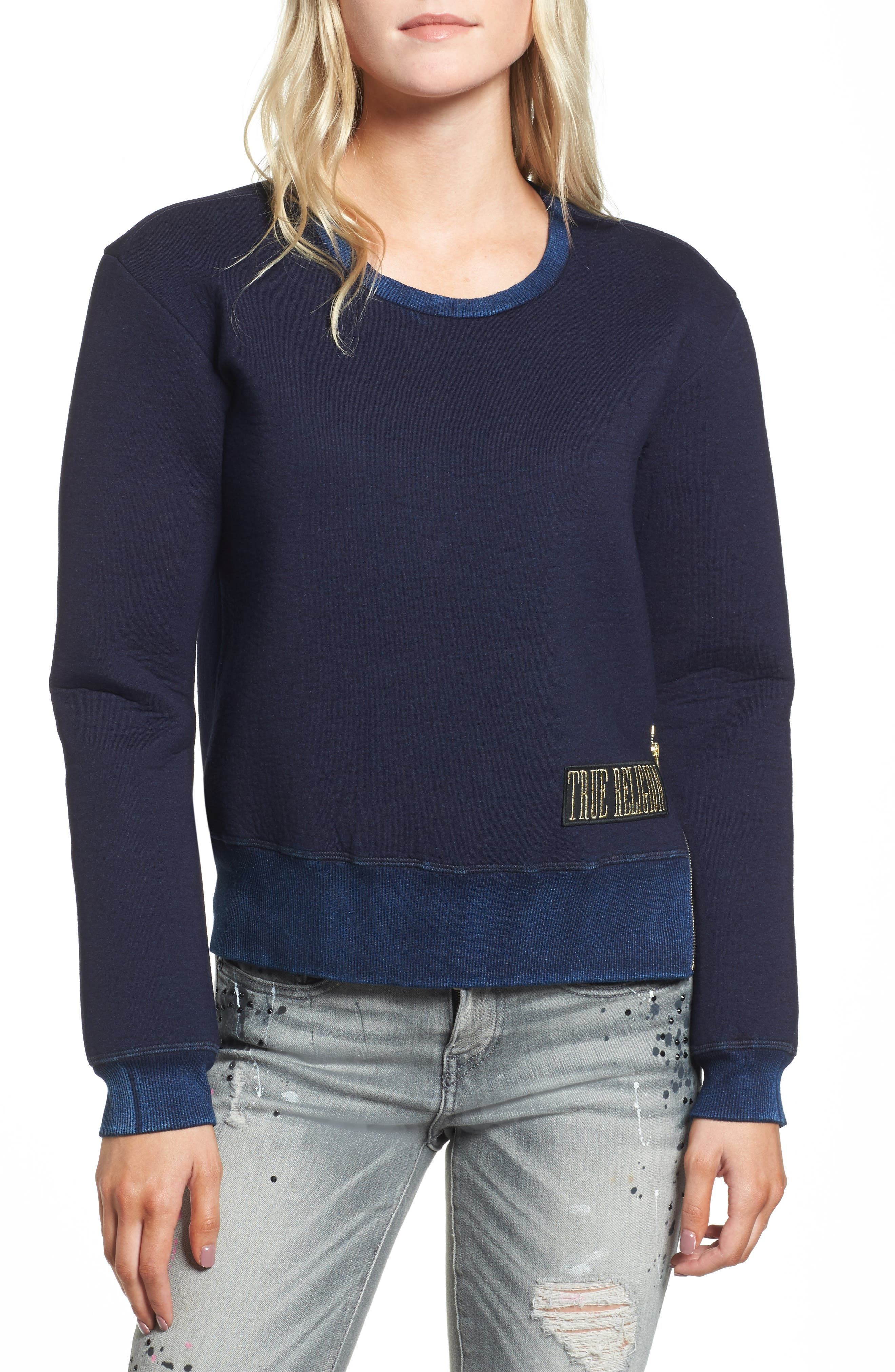 Neoprene Sweatshirt,                         Main,                         color, Indigo