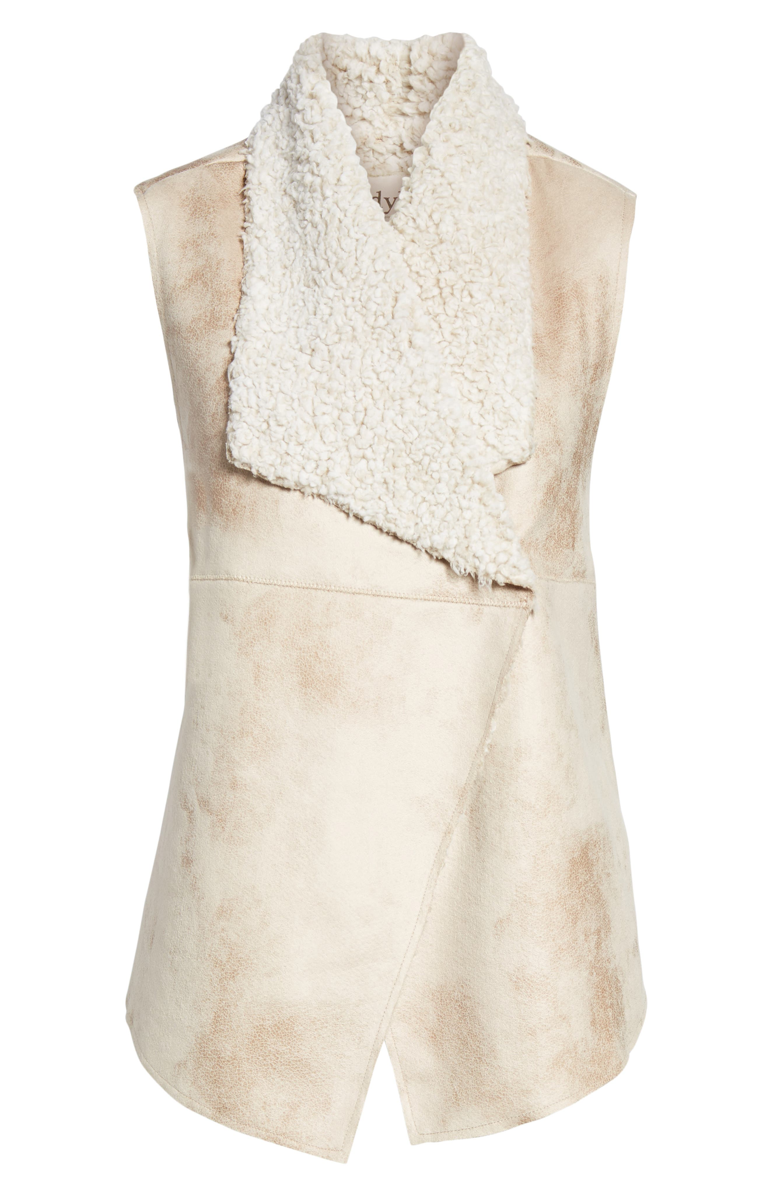 Frosty Faux Shearling Vest,                             Alternate thumbnail 6, color,                             Natural