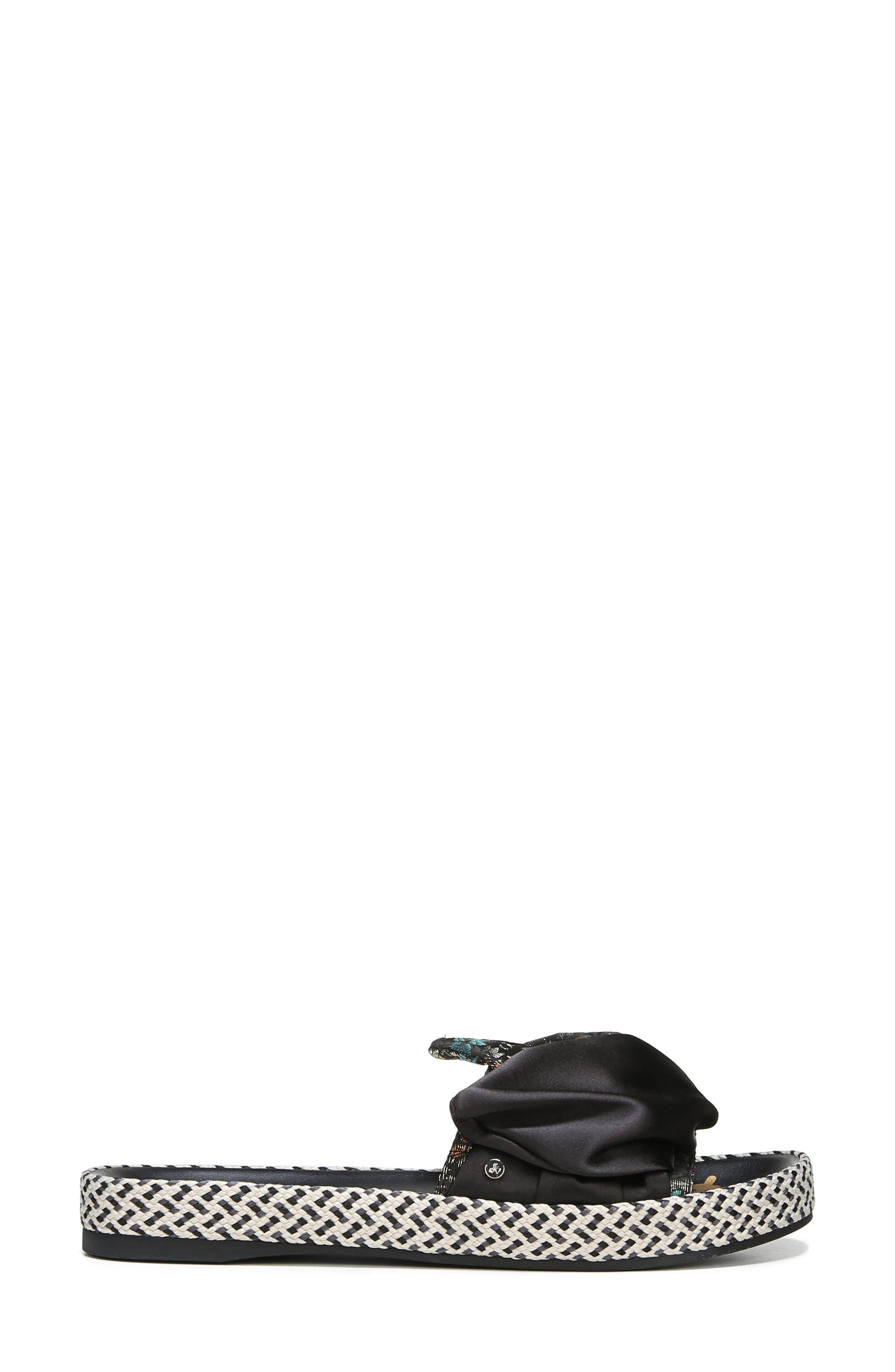 Bodie Slide Sandal,                             Alternate thumbnail 3, color,                             Black Floral Brocade
