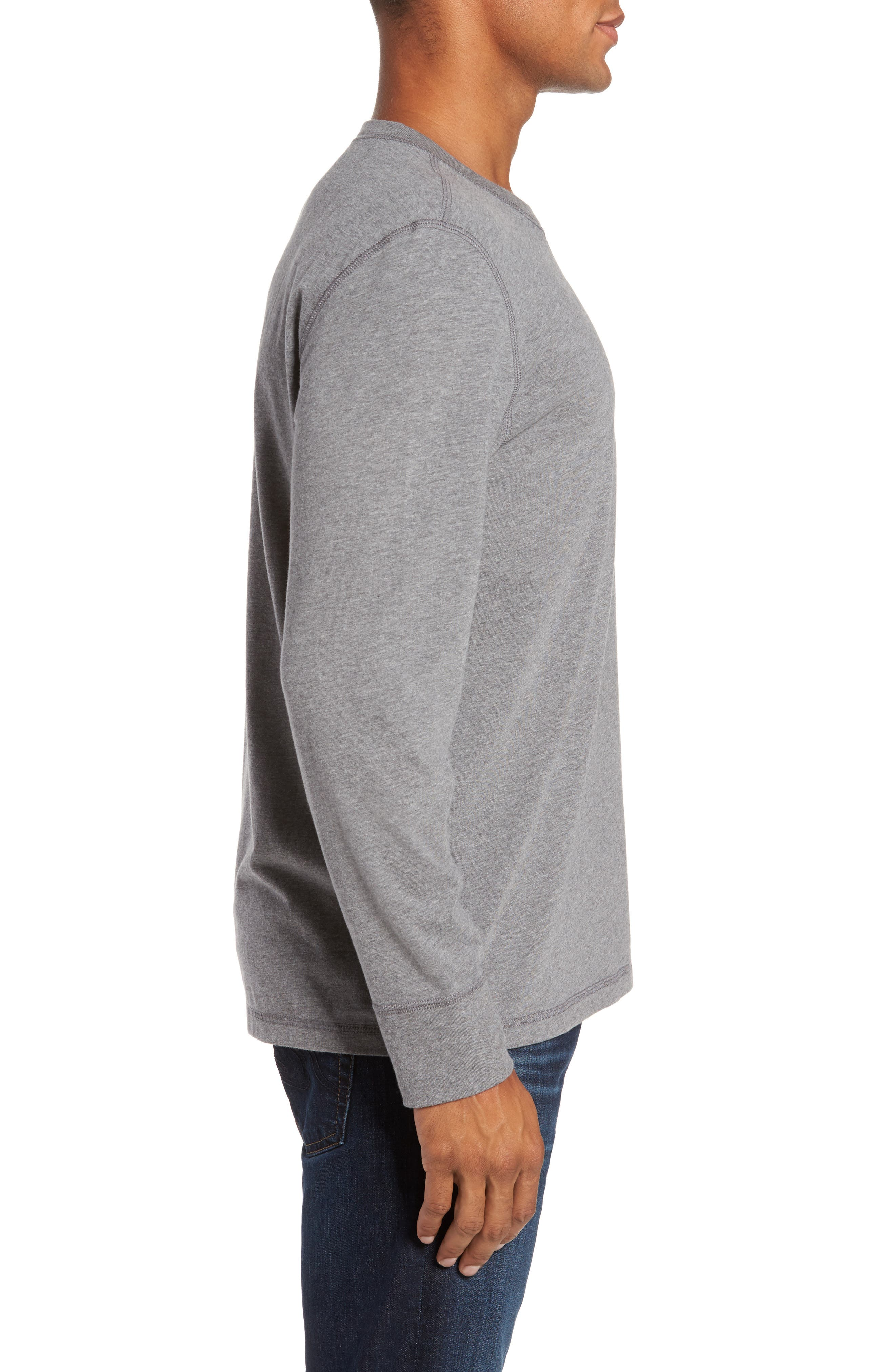 Notch Long Sleeve T-Shirt,                             Alternate thumbnail 3, color,                             Grey