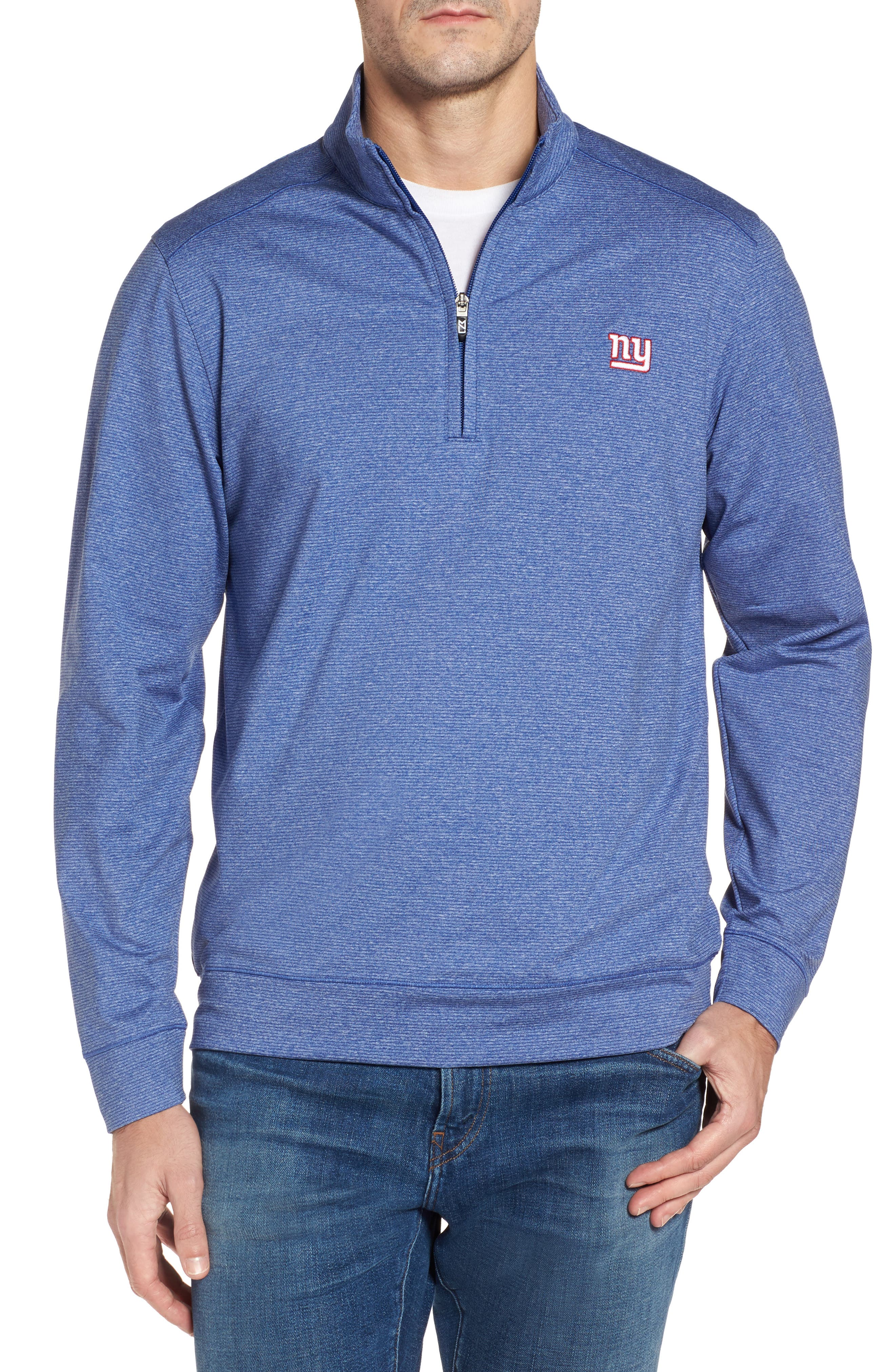 Shoreline - New York Giants Half Zip Pullover,                             Main thumbnail 1, color,                             Tour Blue Heather