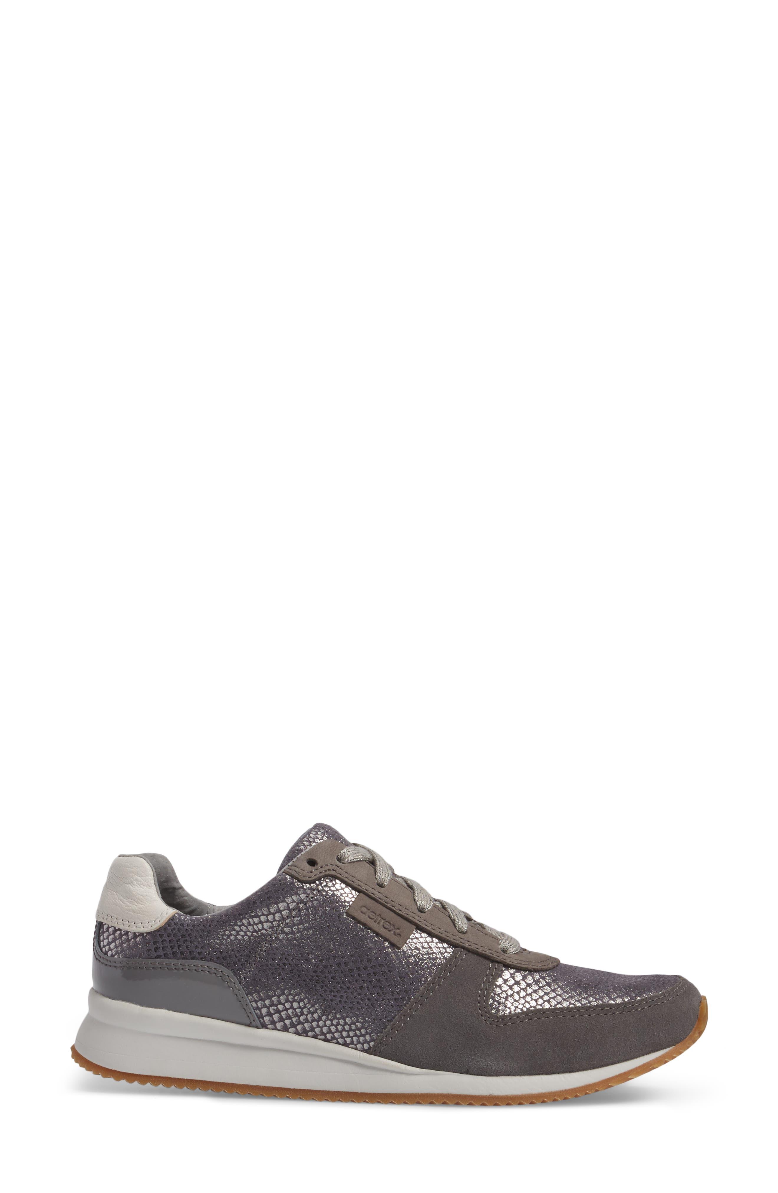 Daphne Sneaker,                             Alternate thumbnail 3, color,                             Grey Leather