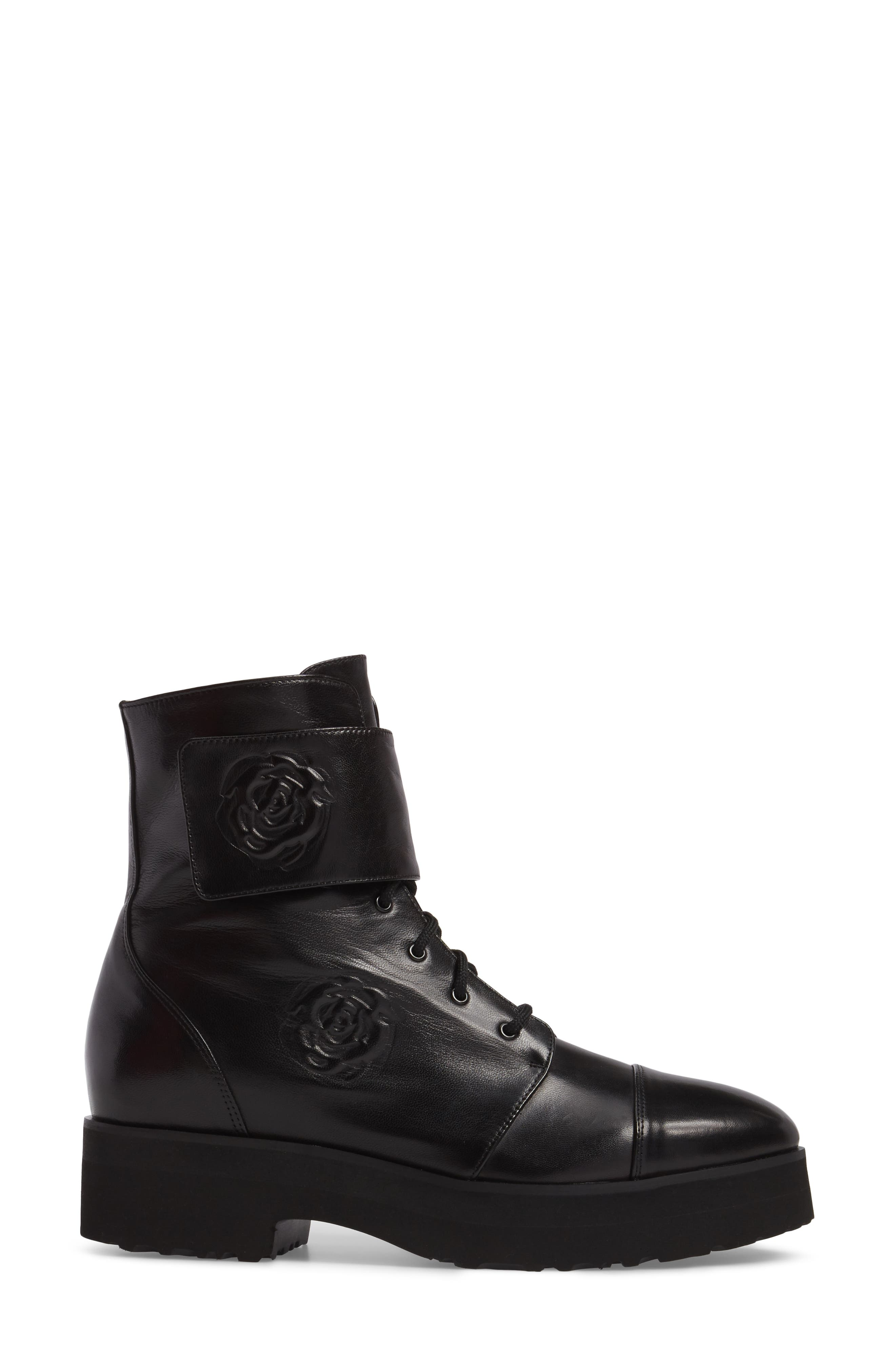 Valentina Rose Boot,                             Alternate thumbnail 3, color,                             Black Leather