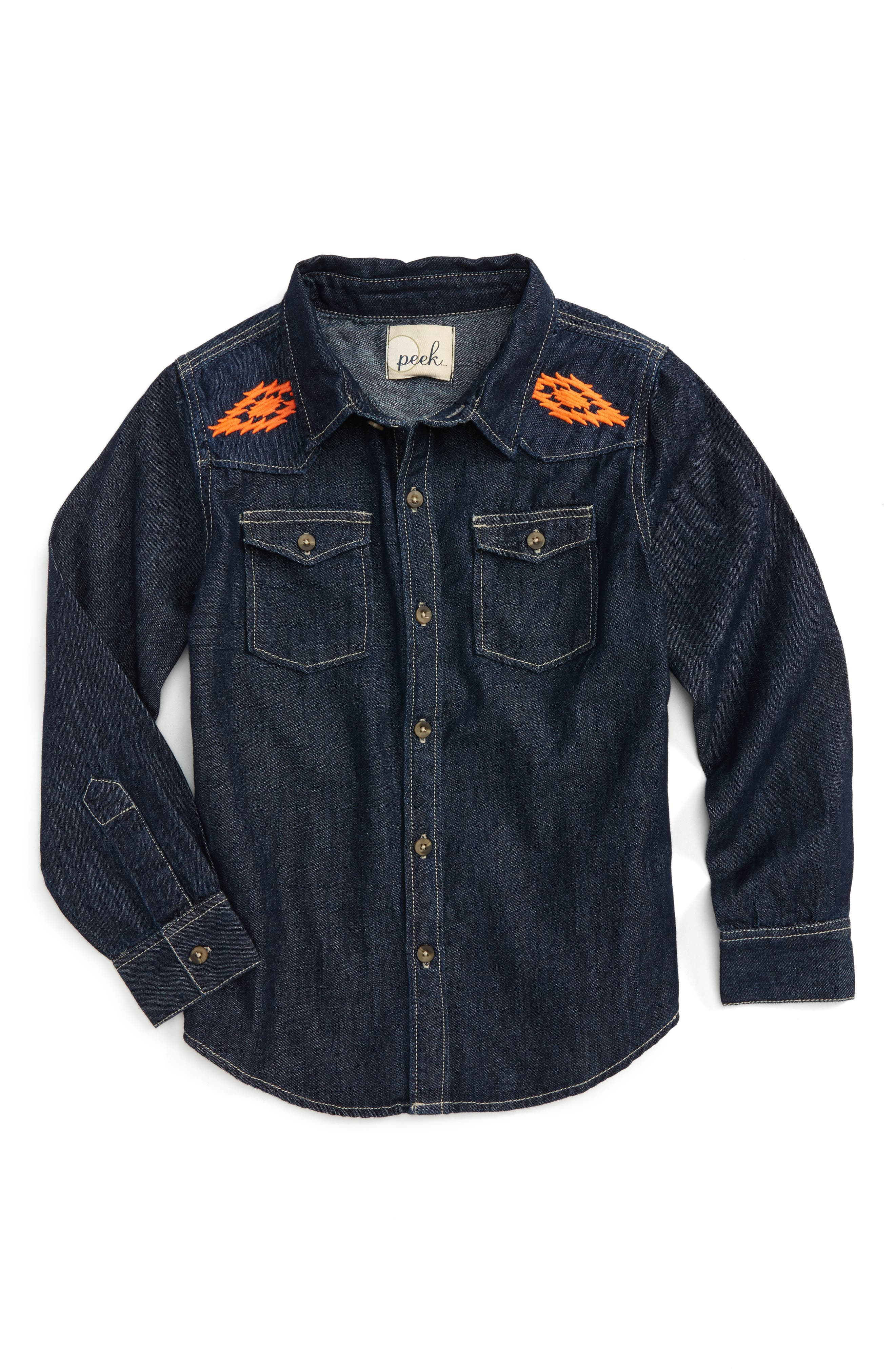 Peek Nash Embroidered Denim Shirt (Toddler Boys, Little Boys & Big Boys)