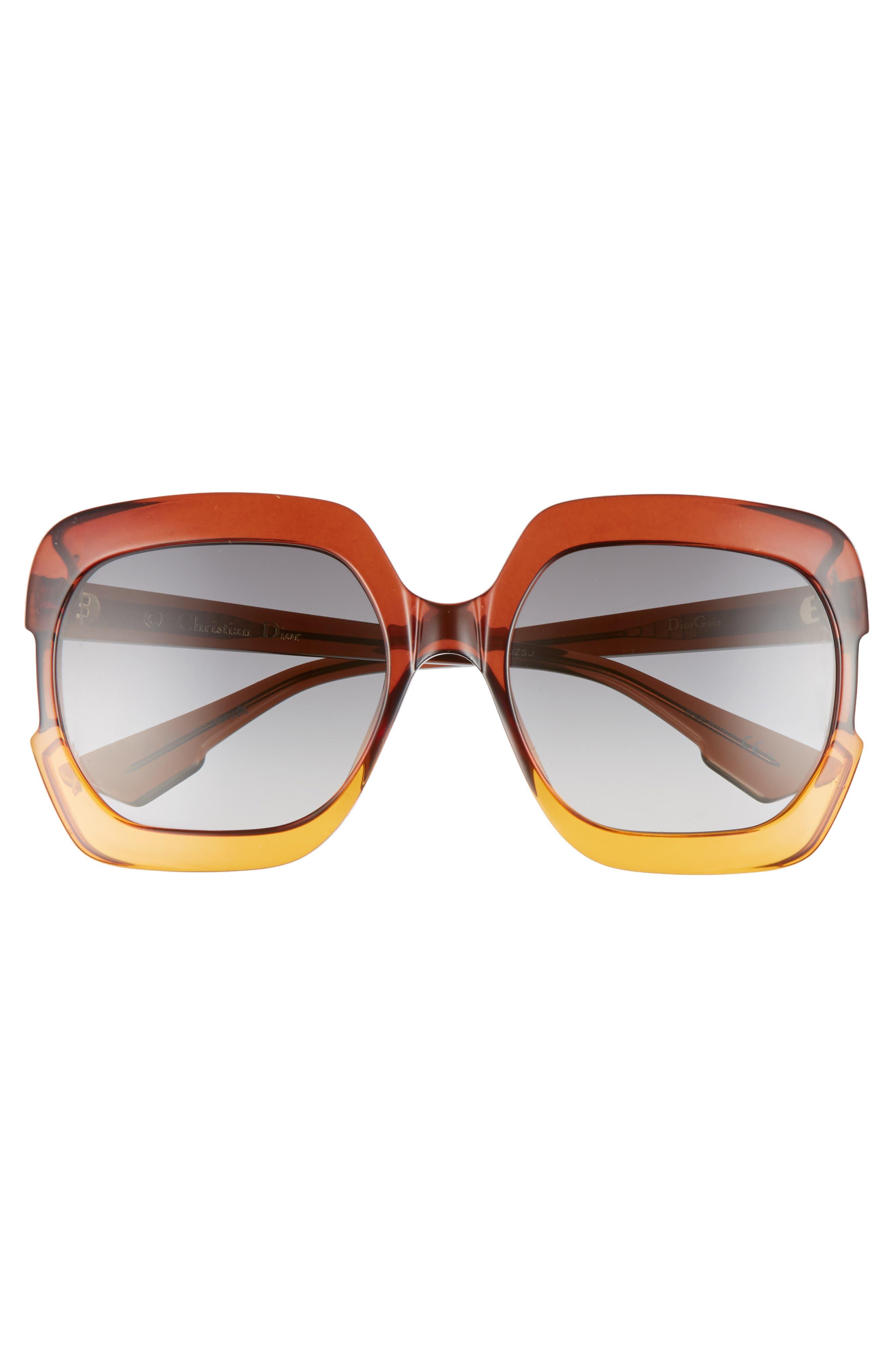 Gaia 58mm Square Sunglasses,                             Alternate thumbnail 3, color,                             Brown/ Orange