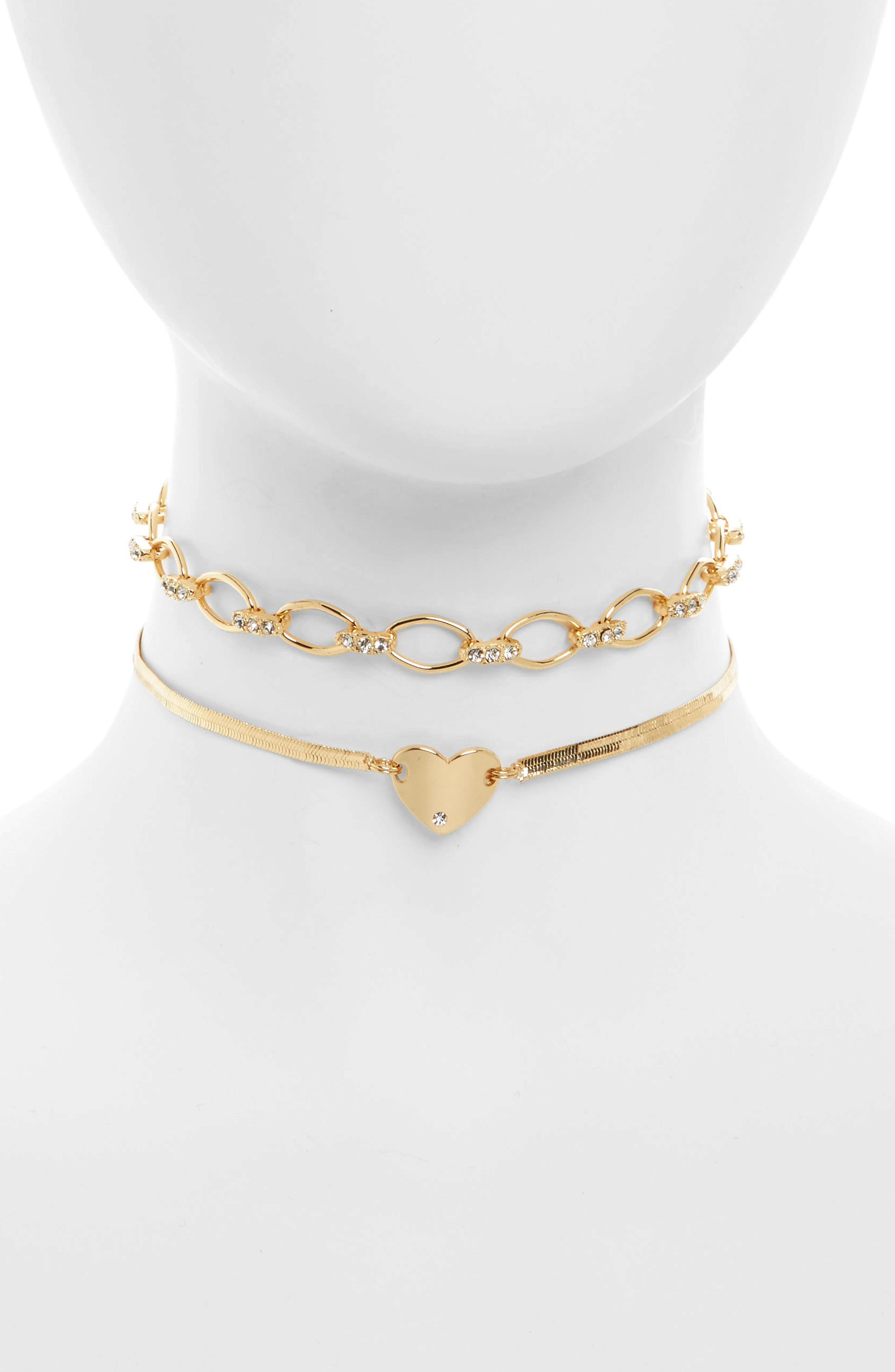 2-Pack Heart & Crystal Chain Chokers,                         Main,                         color, Gold/ Crystal