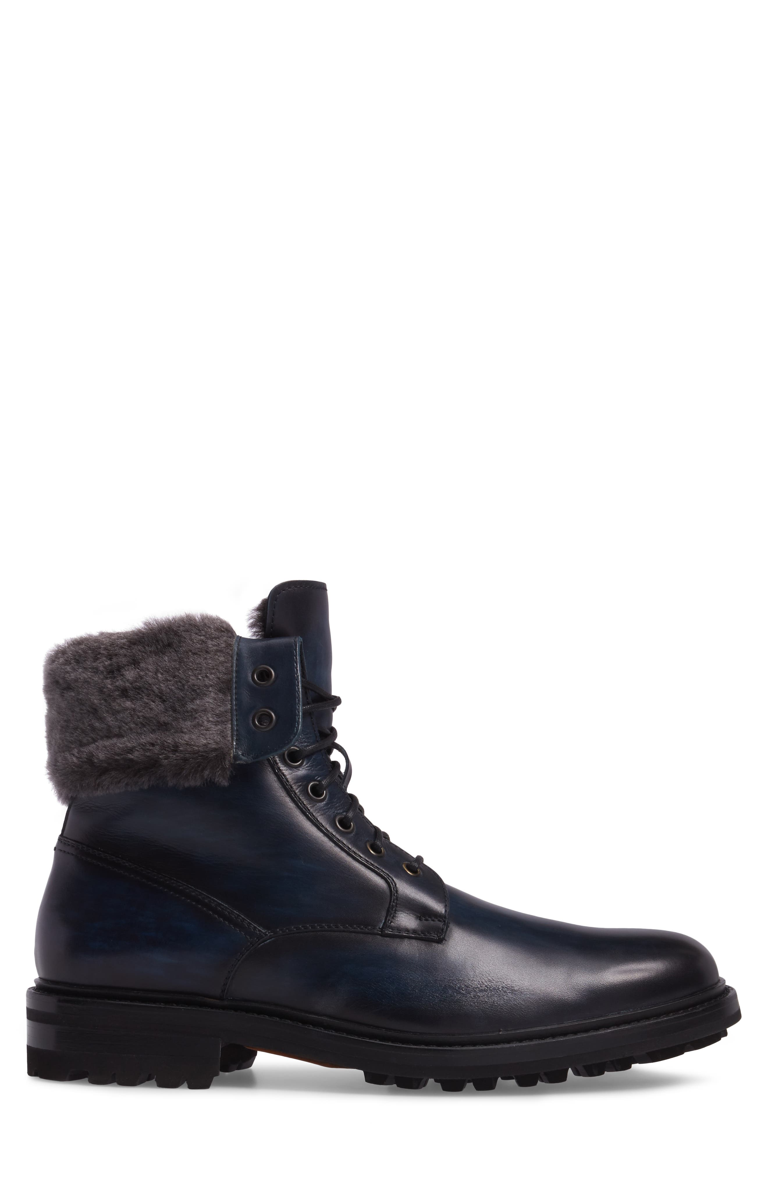 Paxton Plain Toe Boot with Genuine Rabbit Fur Cuff,                             Alternate thumbnail 3, color,                             Navy Leather