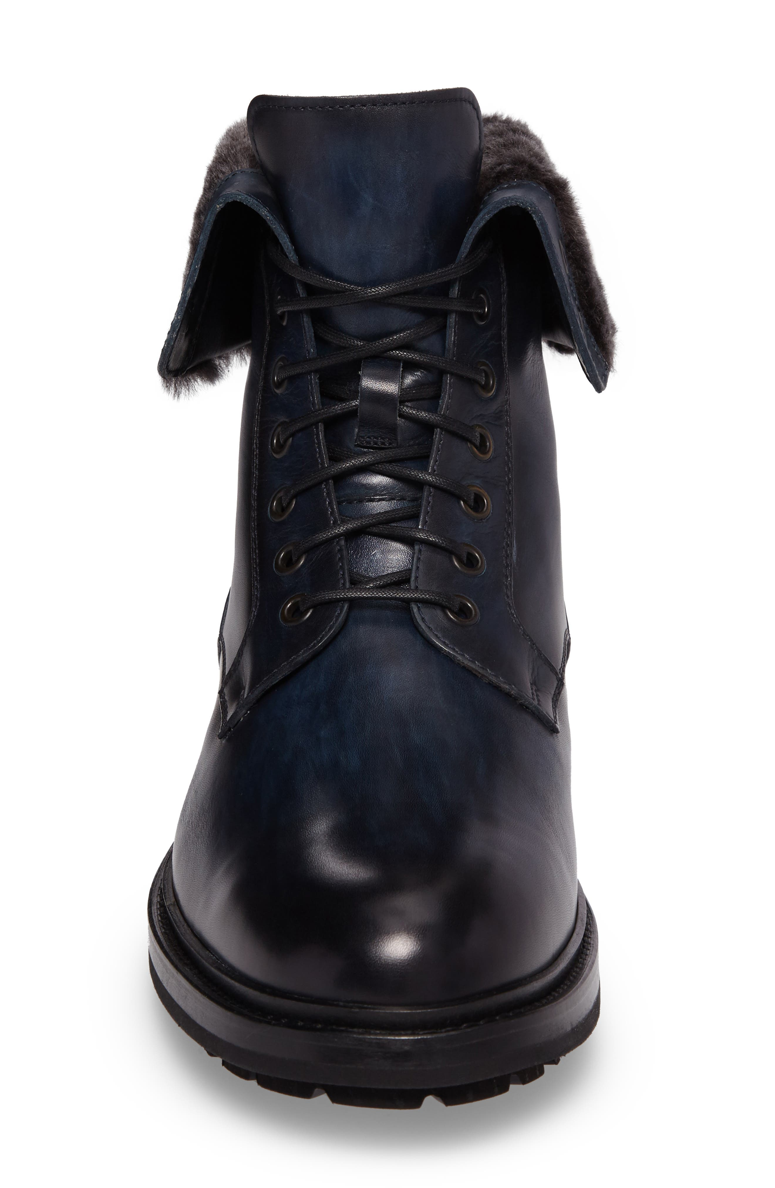 Paxton Plain Toe Boot with Genuine Rabbit Fur Cuff,                             Alternate thumbnail 4, color,                             Navy Leather