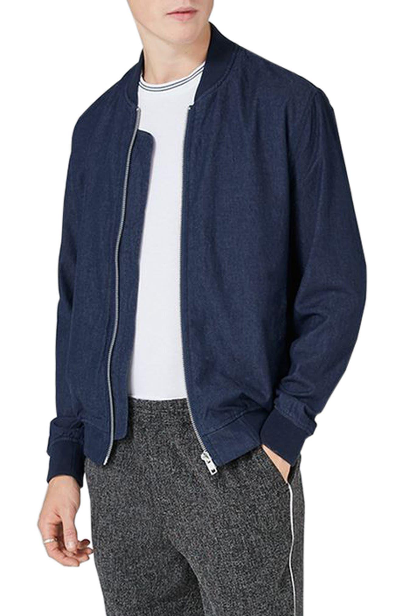 Topman Embroidered Denim Bomber Jacket