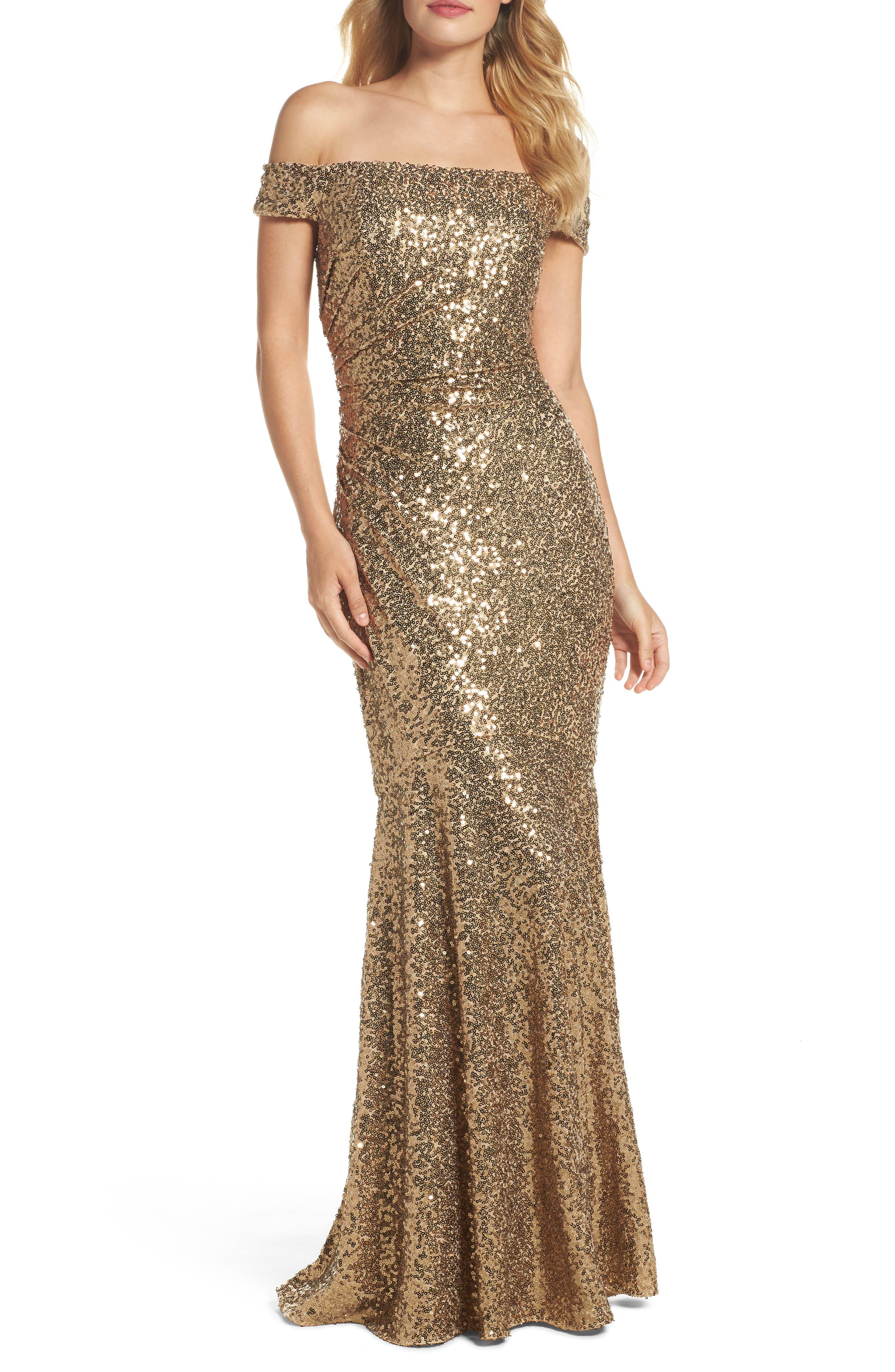 Badgley Mischka Sequin Off the Shoulder Mermaid Gown