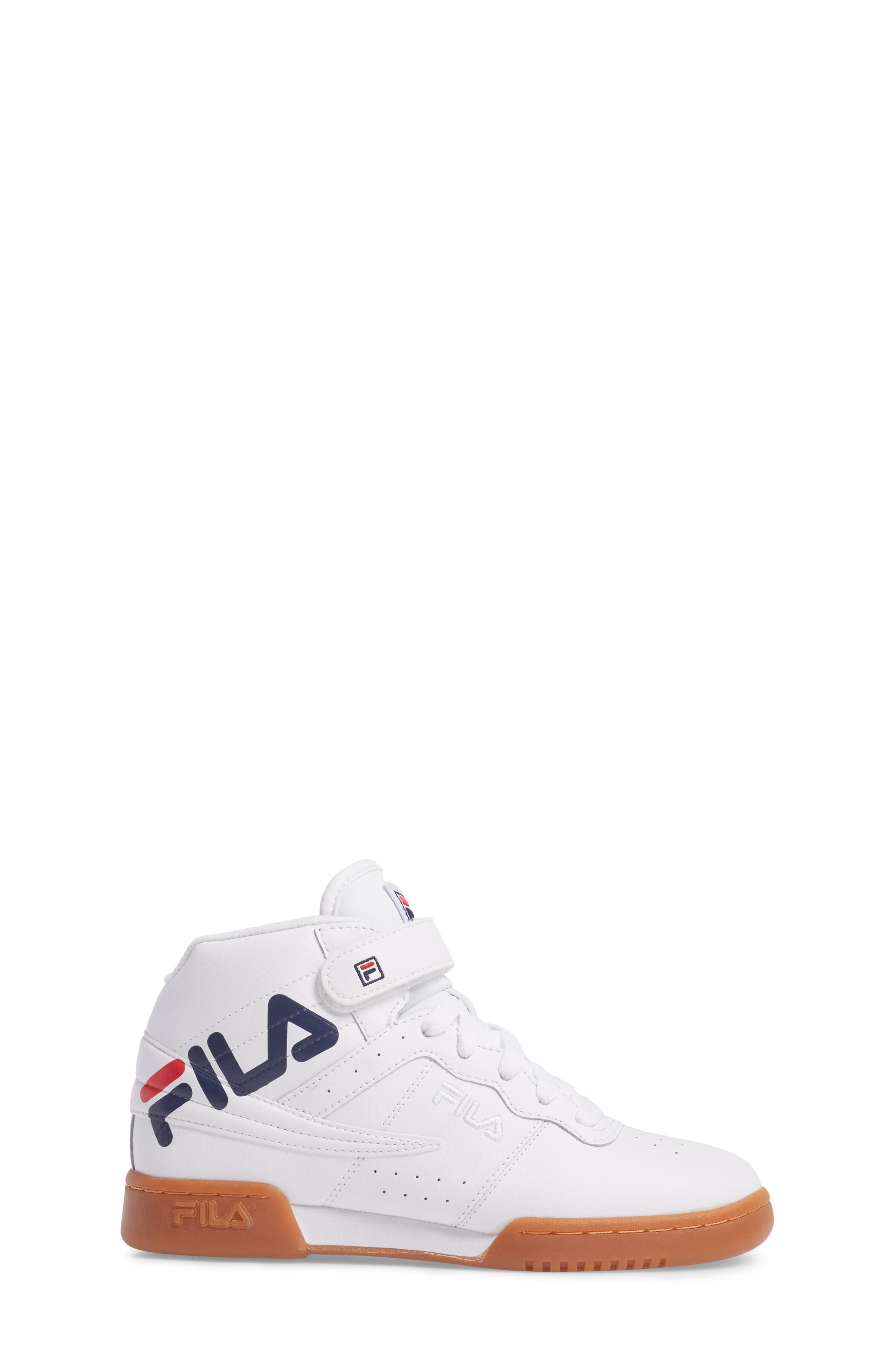 Original Fitness Logo Mid Top Sneaker,                             Alternate thumbnail 3, color,                             White/ Navy/ Red