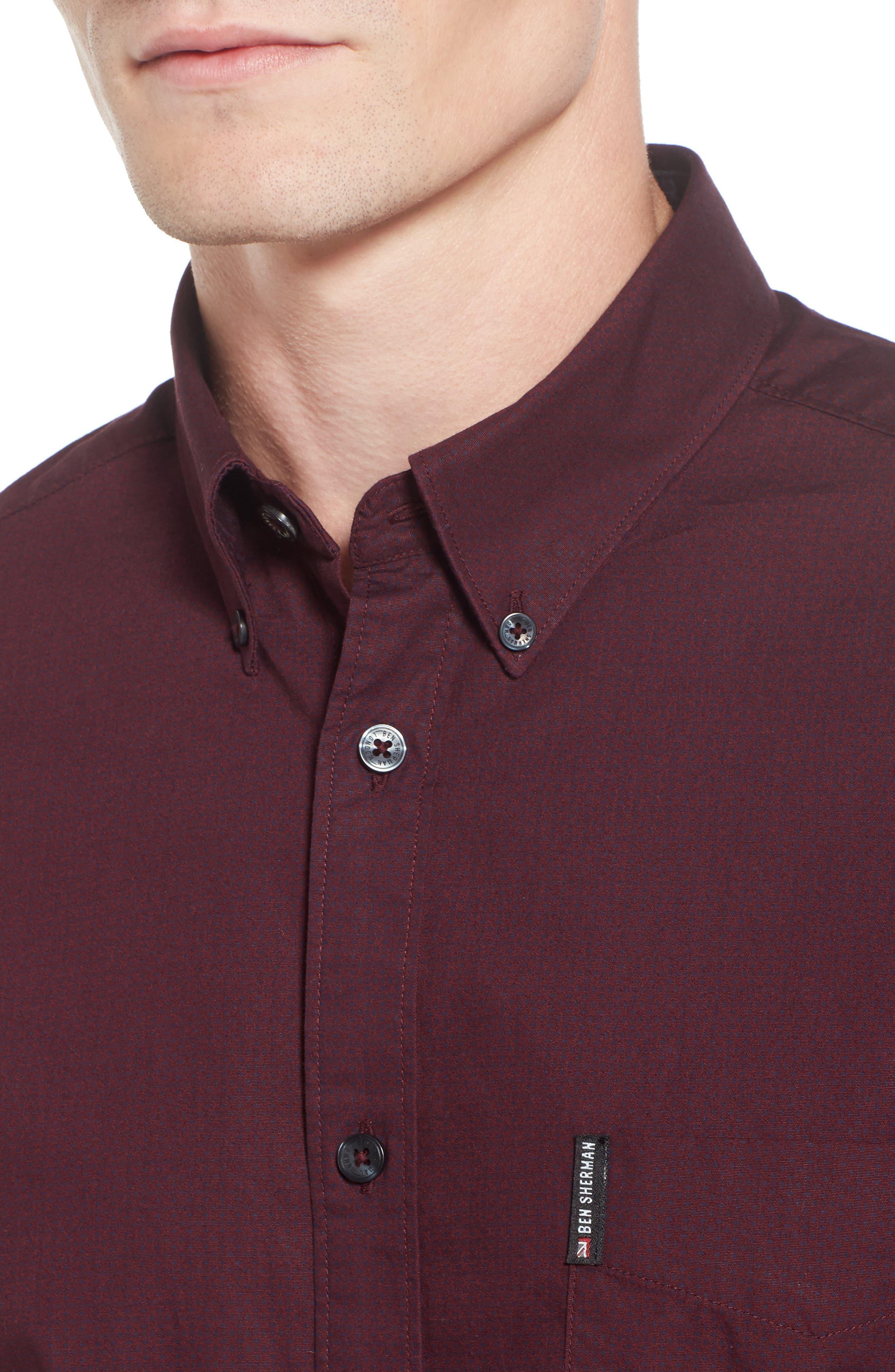 Micro Diamond Print Sport Shirt,                             Alternate thumbnail 4, color,                             Grape