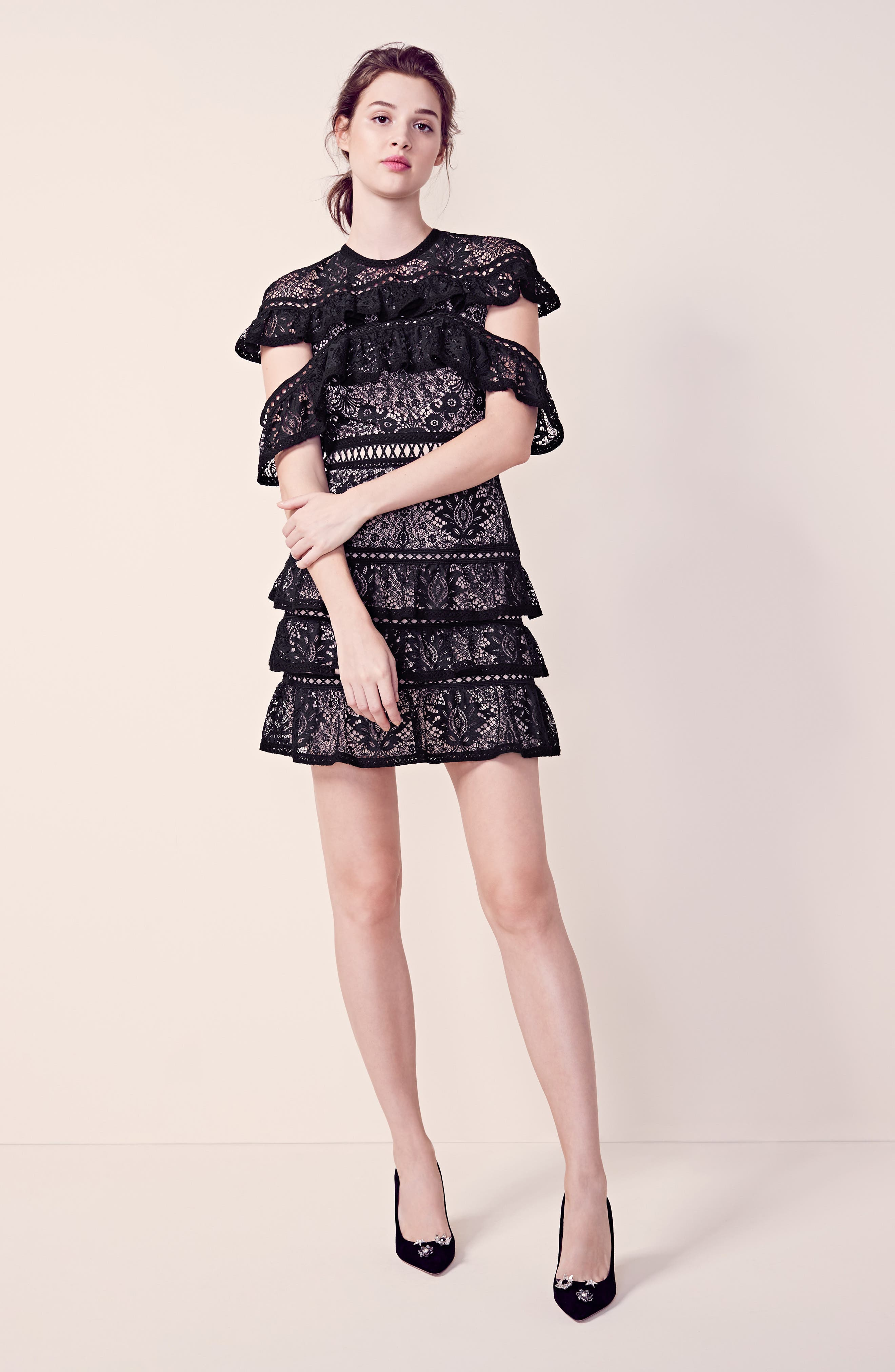Alternate Image 2  - Alice + Olivia Jolie Tiered Ruffle Lace Dress