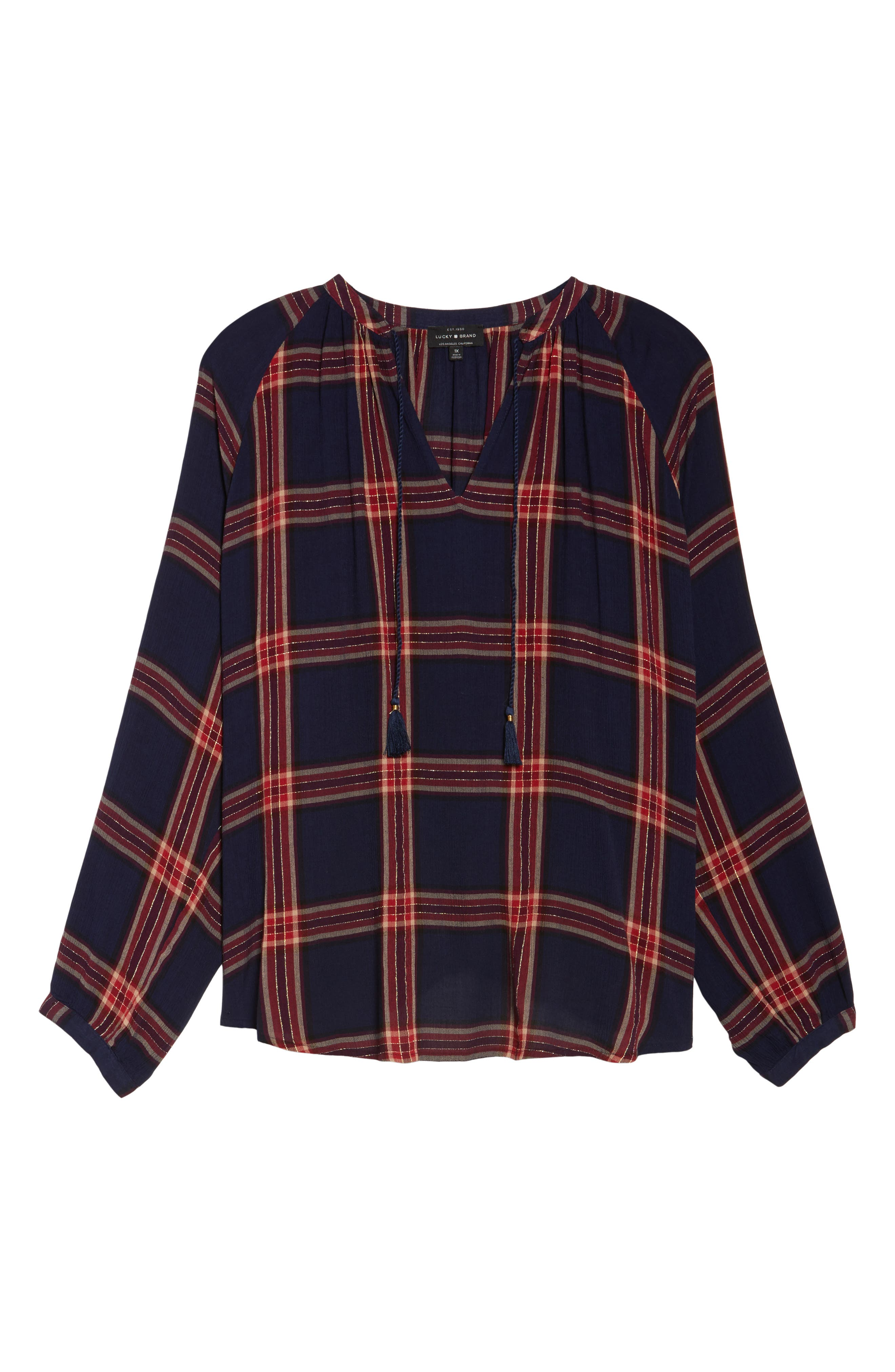 Alternate Image 6  - Lucky Brand Plaid Cotton Peasant Top (Plus Size)