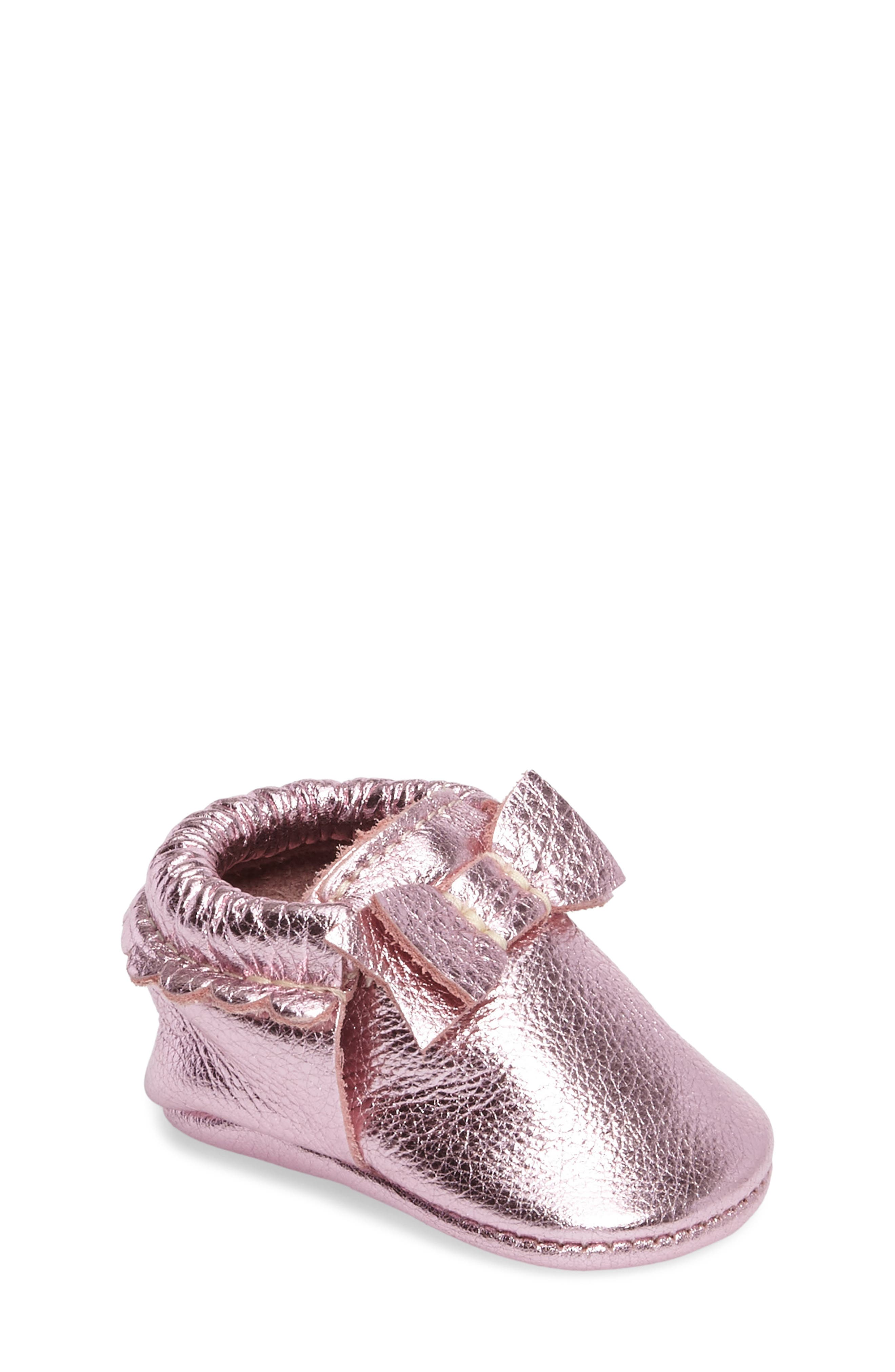 Freshly Picked Metallic Bow Moccasin (Baby & Walker)