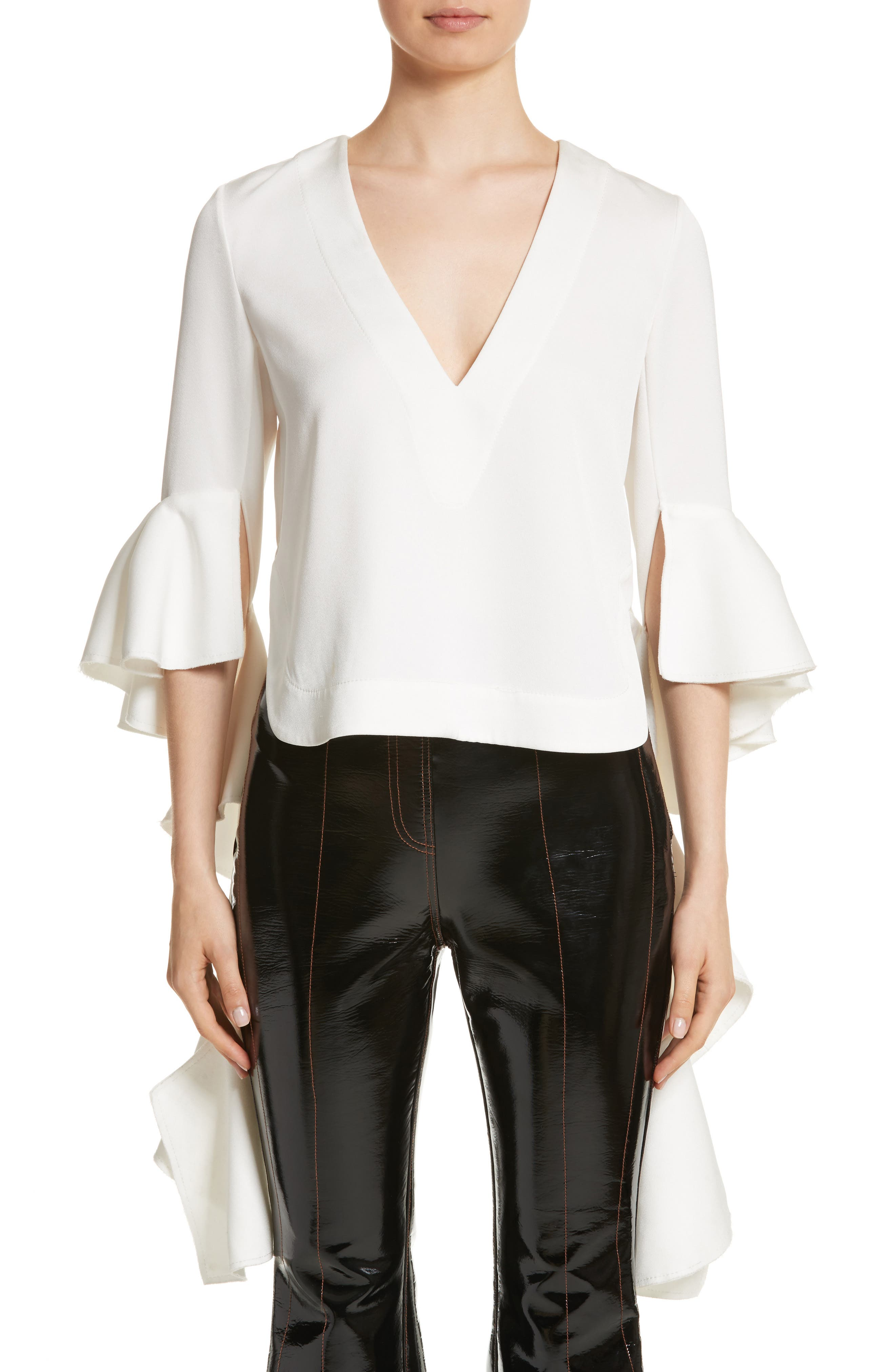 Ace Frill Sleeve V-Neck Top,                         Main,                         color, Ivory