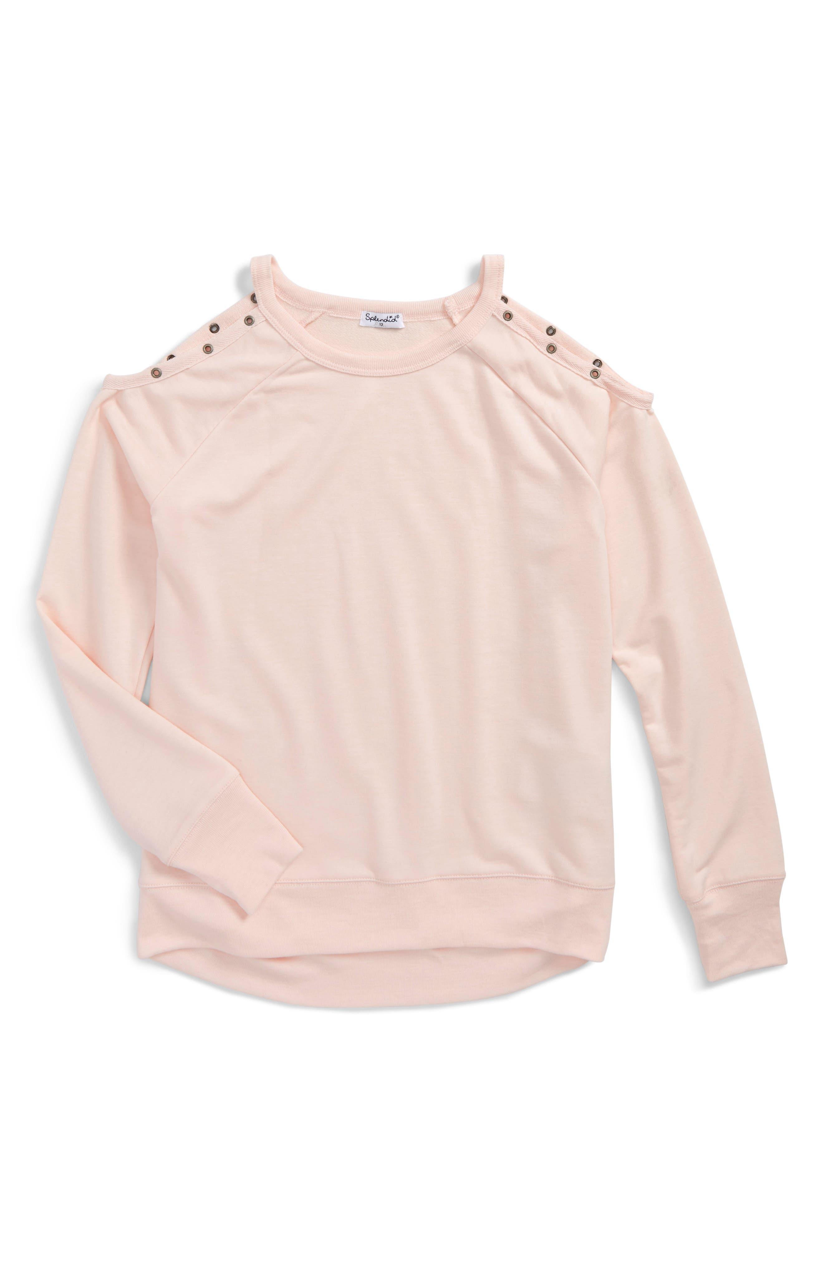 Cold Shoulder Sweatshirt,                         Main,                         color, Light Pink