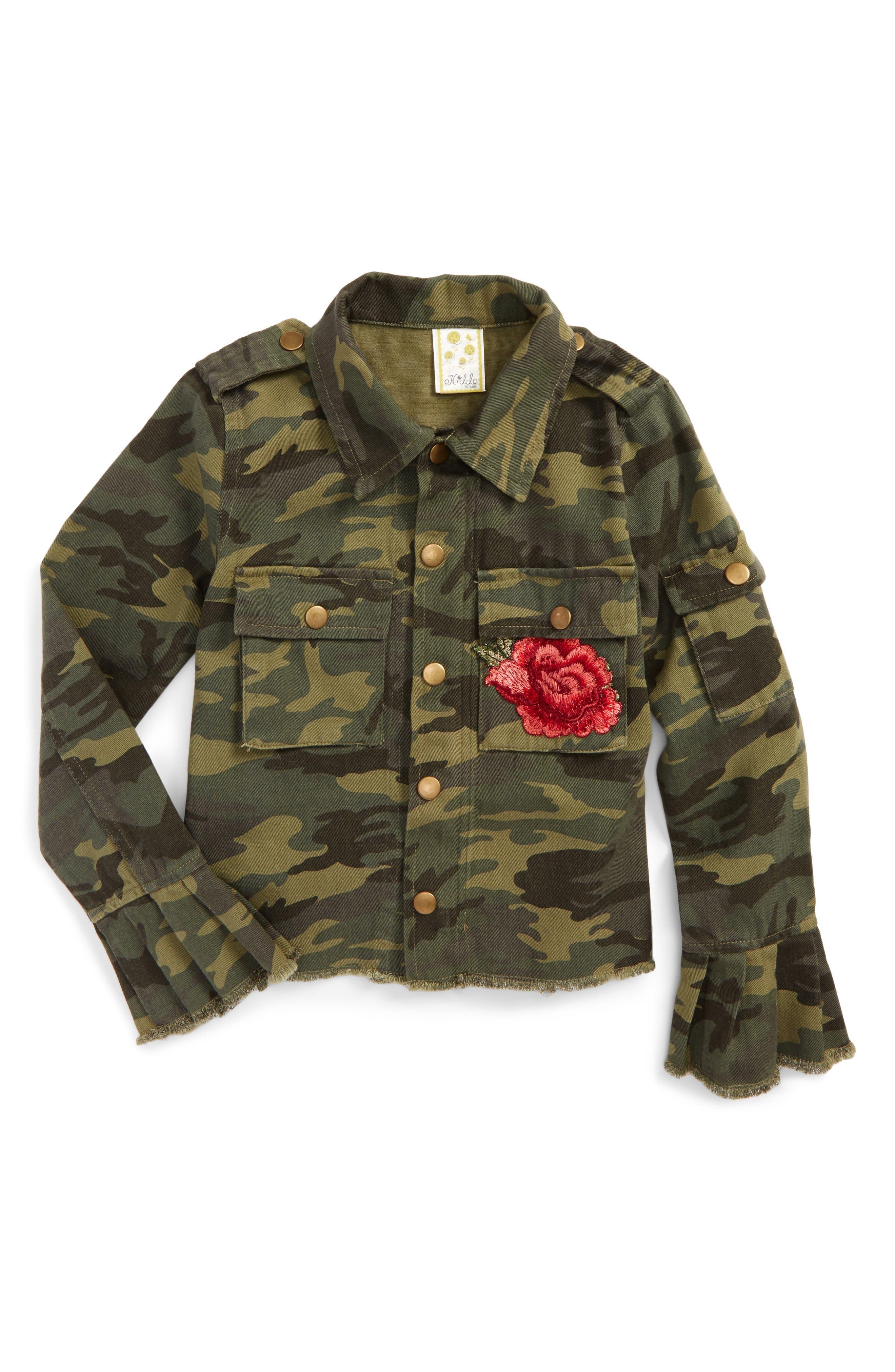 Alternate Image 1 Selected - Kiddo Embroidered Camo Shirt Jacket (Big Girls)