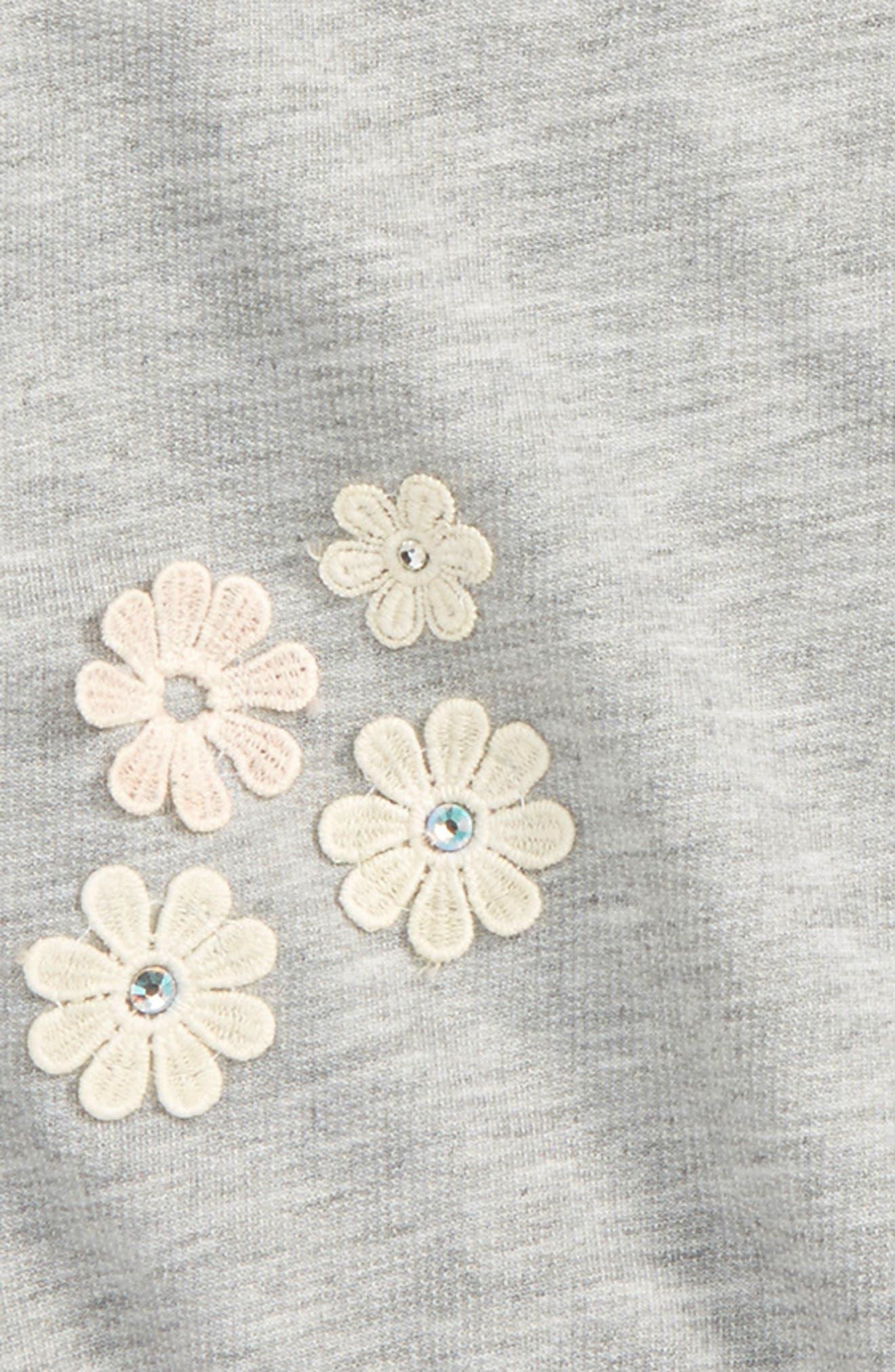 Alternate Image 2  - Truly Me Floral Appliqué Sweatshirt (Toddler Girls & Little Girls)