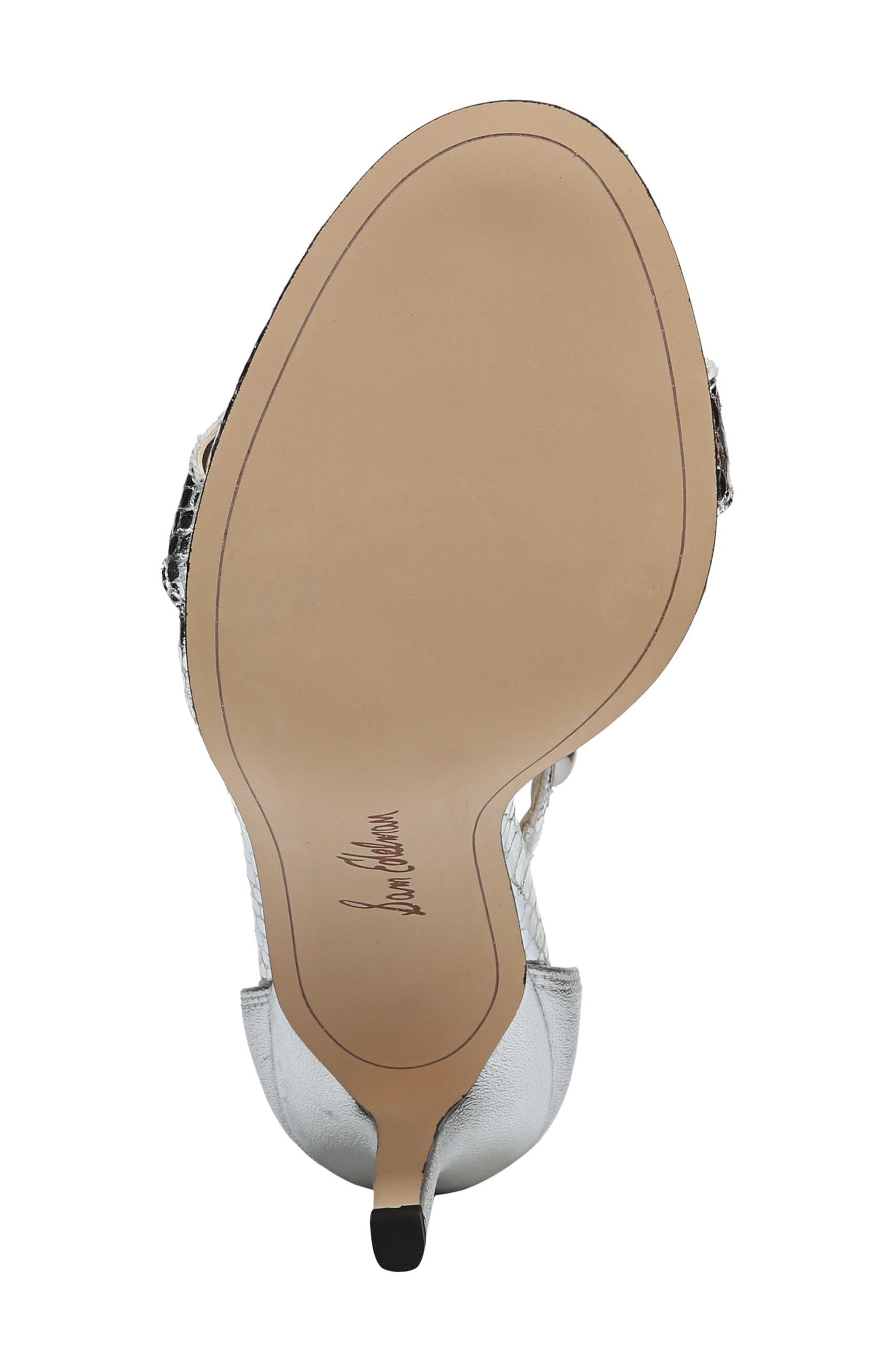 Sam Edelmen Addison Embellished Ankle Strap Sandal,                             Alternate thumbnail 6, color,                             Soft Silver