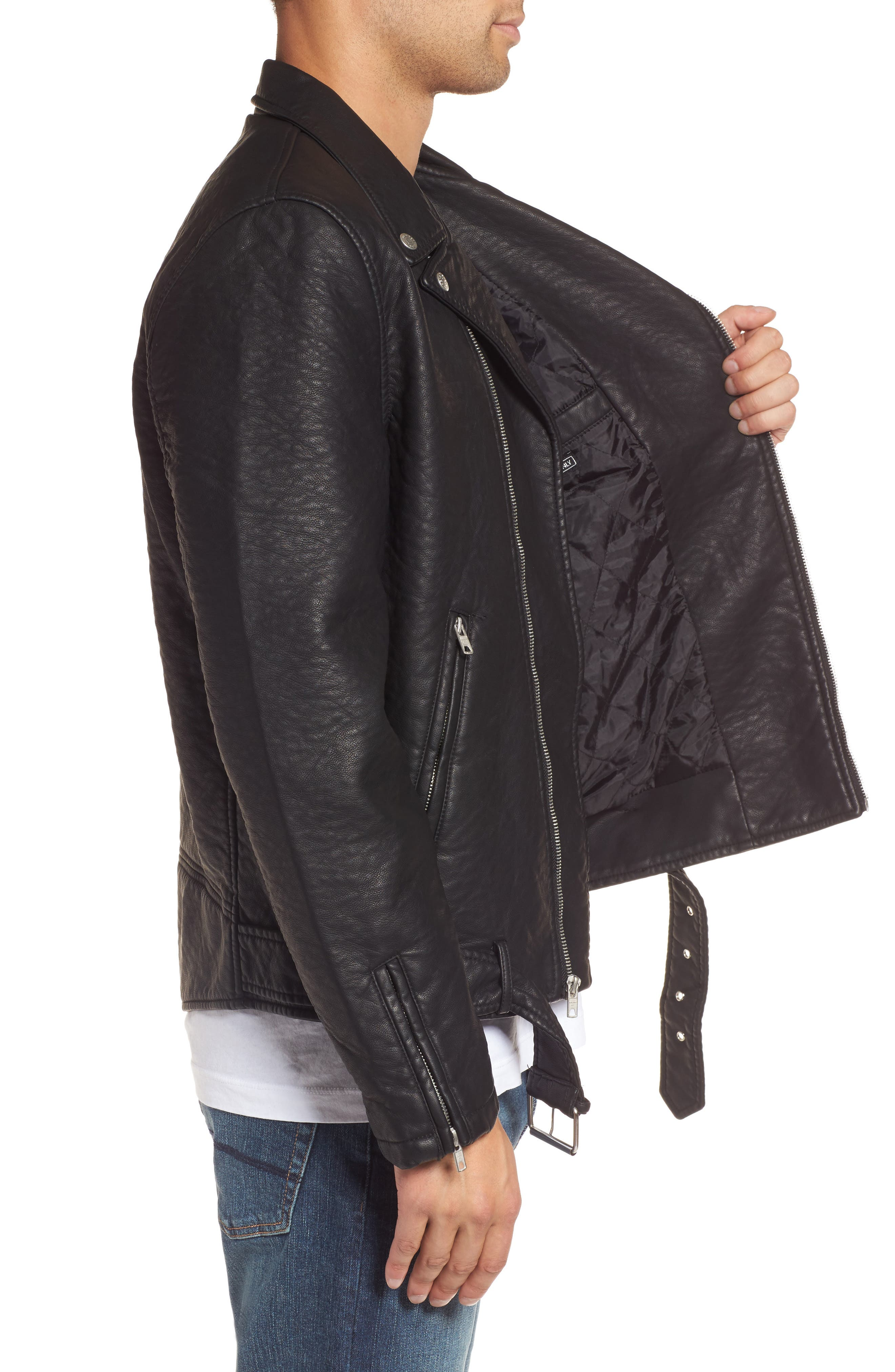Alternate Image 3  - Members Only Faux Leather Moto Jacket