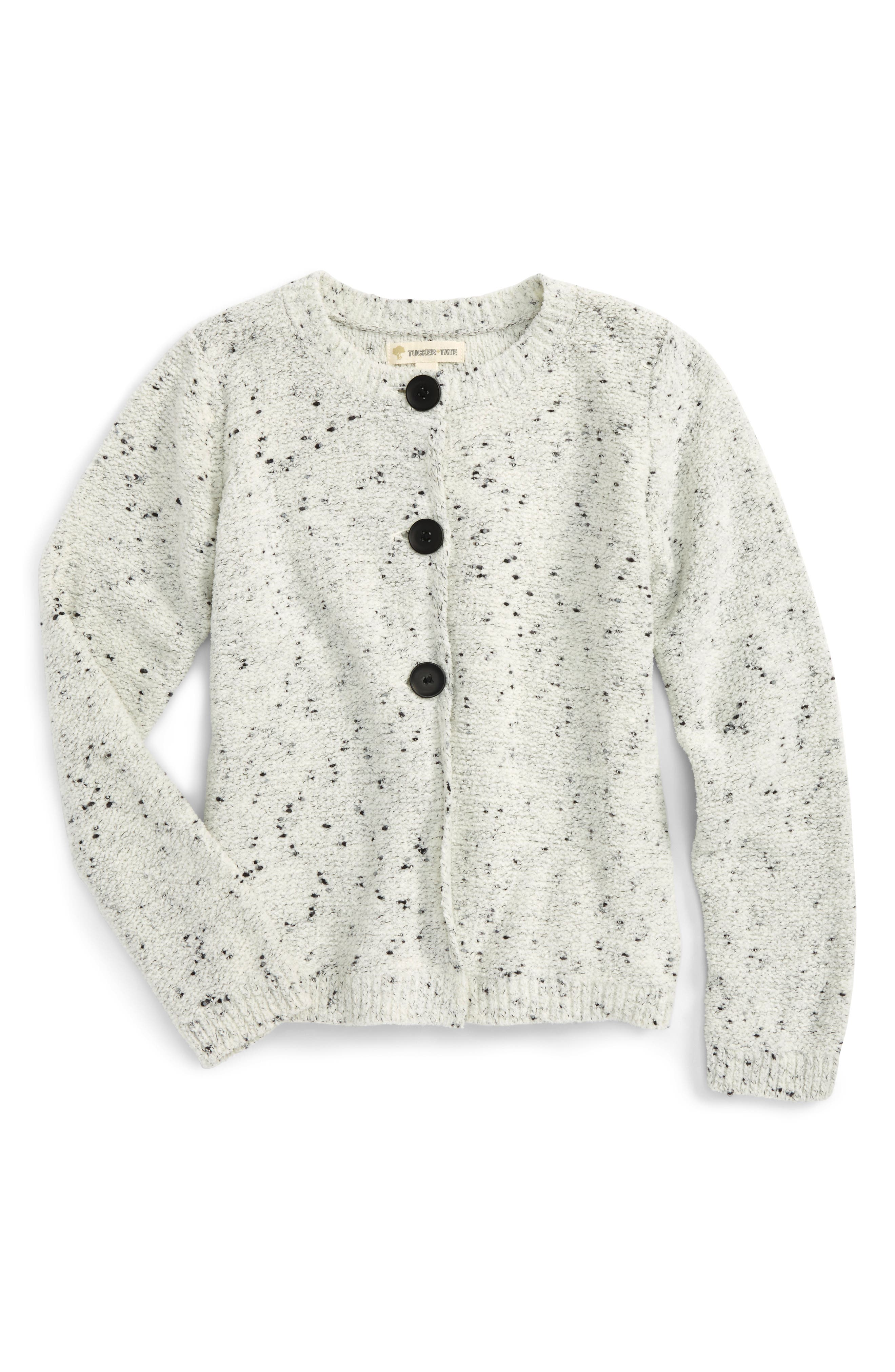Speckle Swing Cardigan,                             Main thumbnail 1, color,                             Ivory Egret- Black