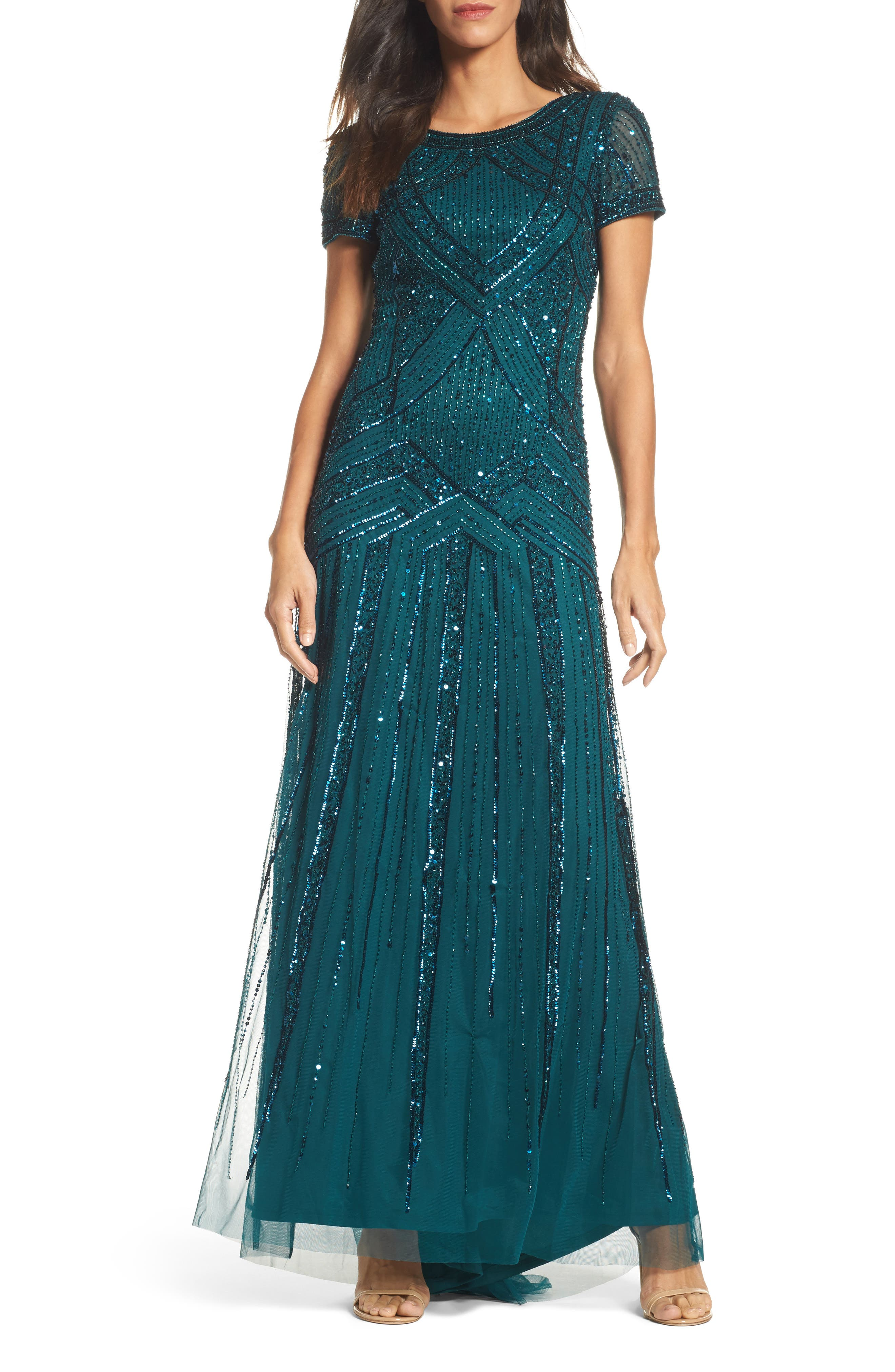 Main Image - Adrianna Papell Embellished Short Sleeve Gown