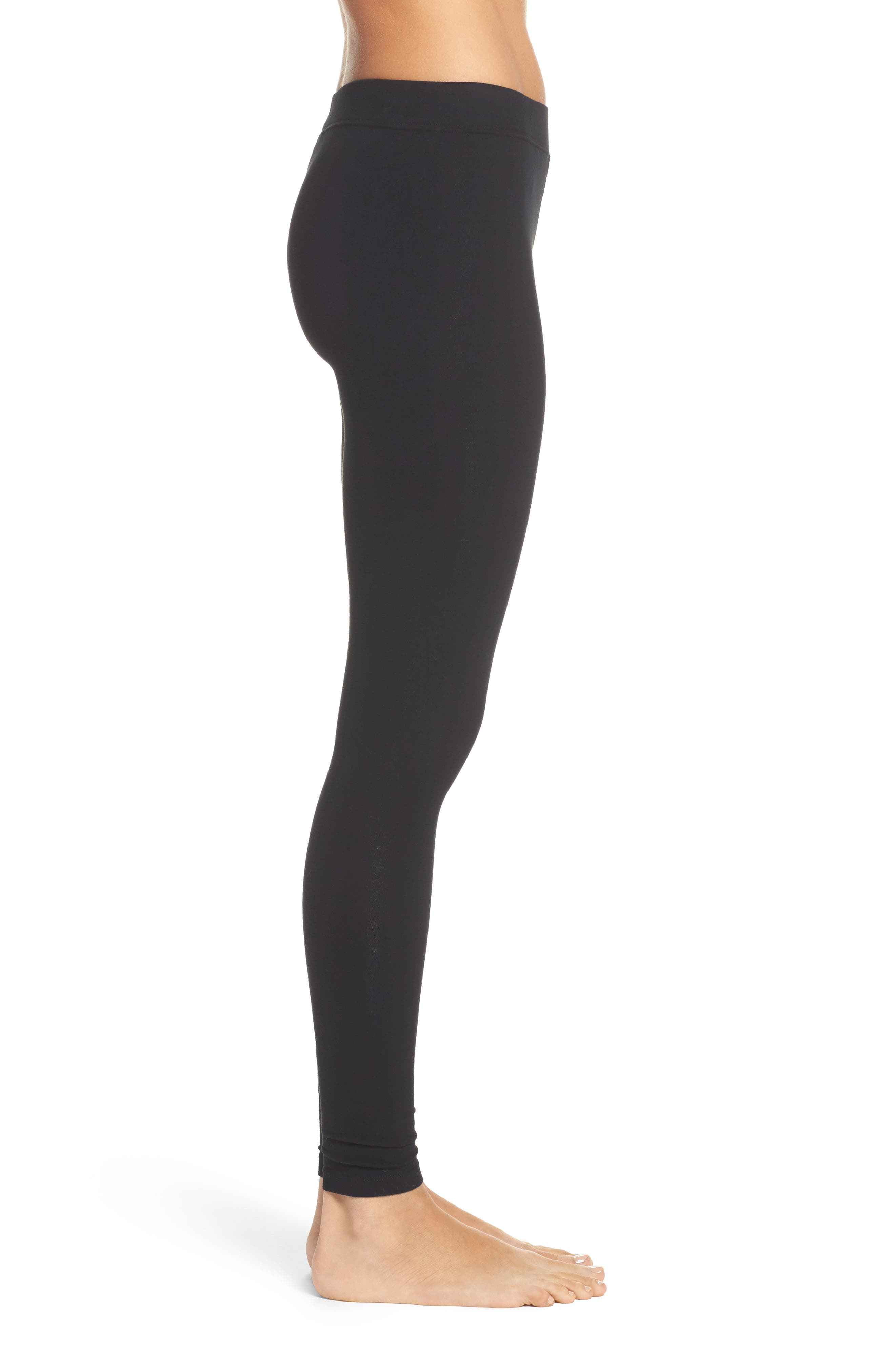 Stretch Leggings,                             Alternate thumbnail 3, color,                             Black