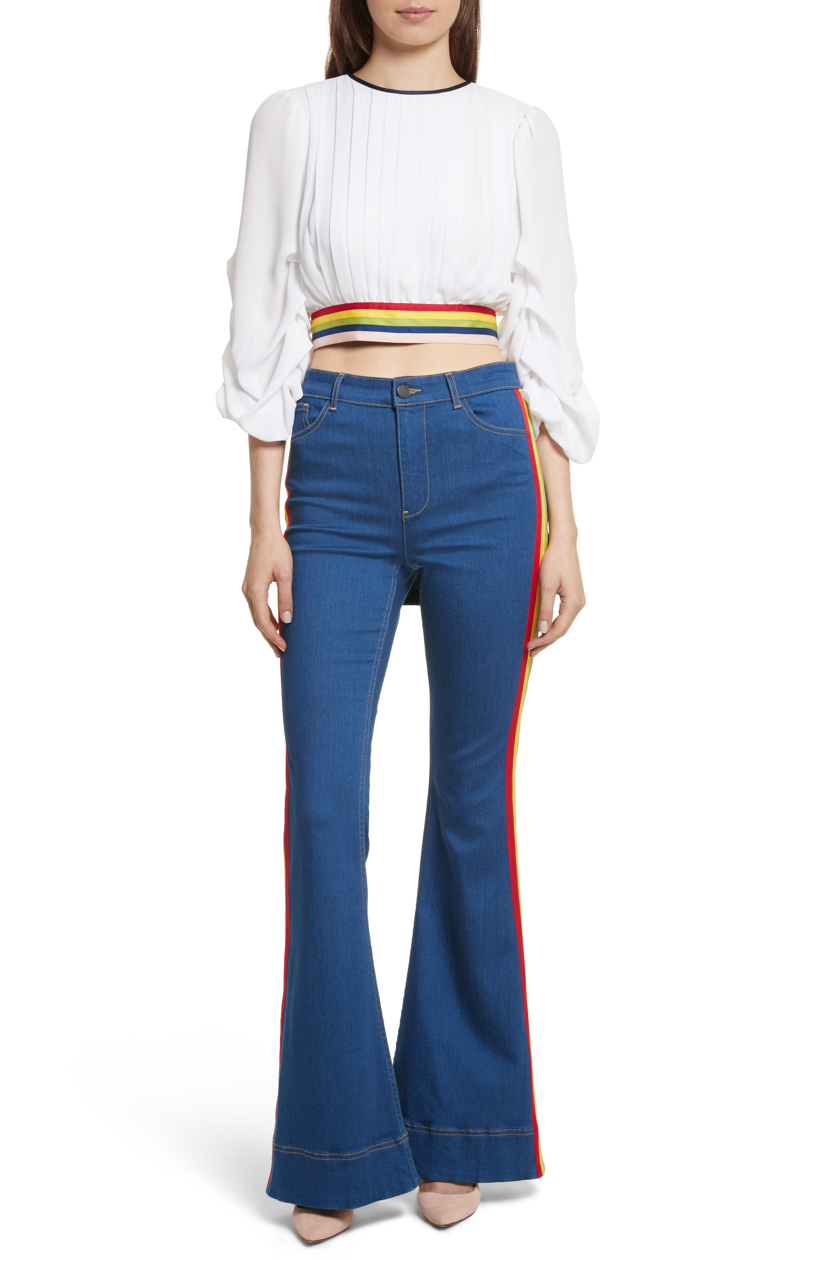 Kayleigh Bell Jeans,                             Alternate thumbnail 7, color,                             French Blue Multi