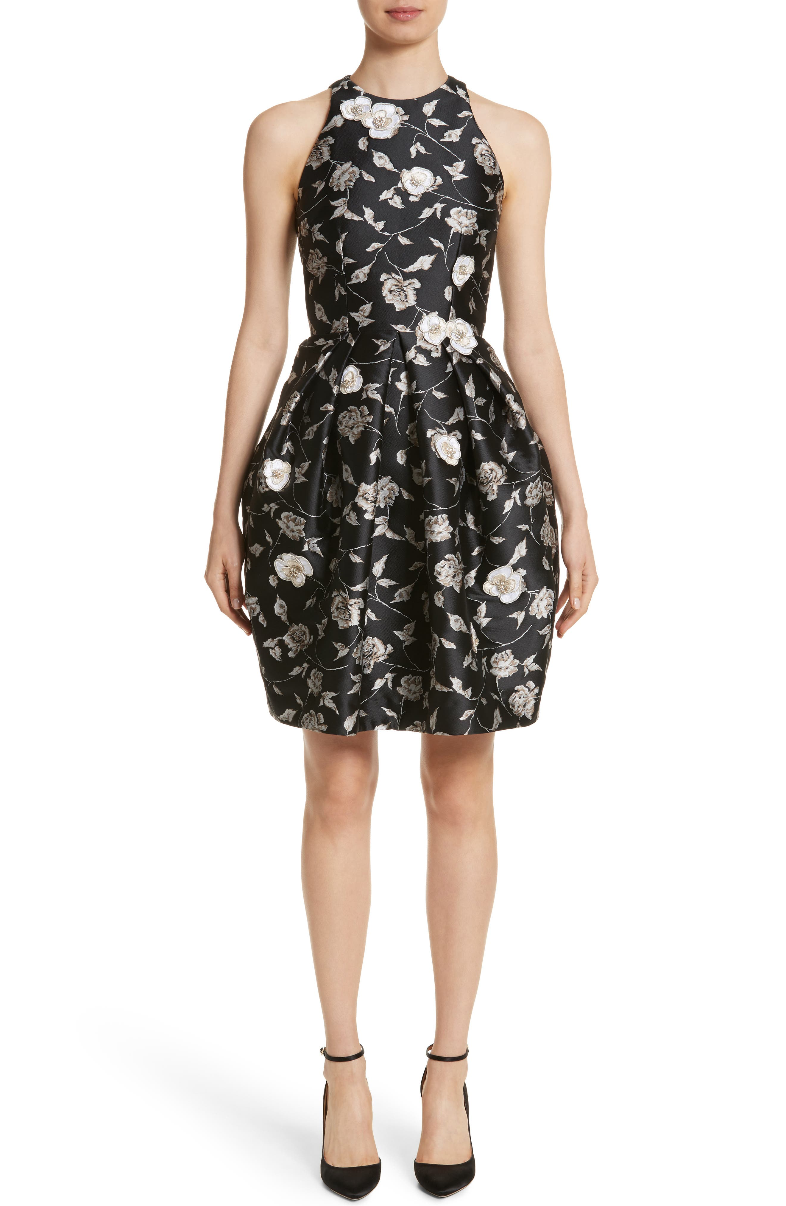Carmen Marc Valvo Embellished Appliqué Floral Jacquard Cocktail Dress,                             Main thumbnail 1, color,                             Black