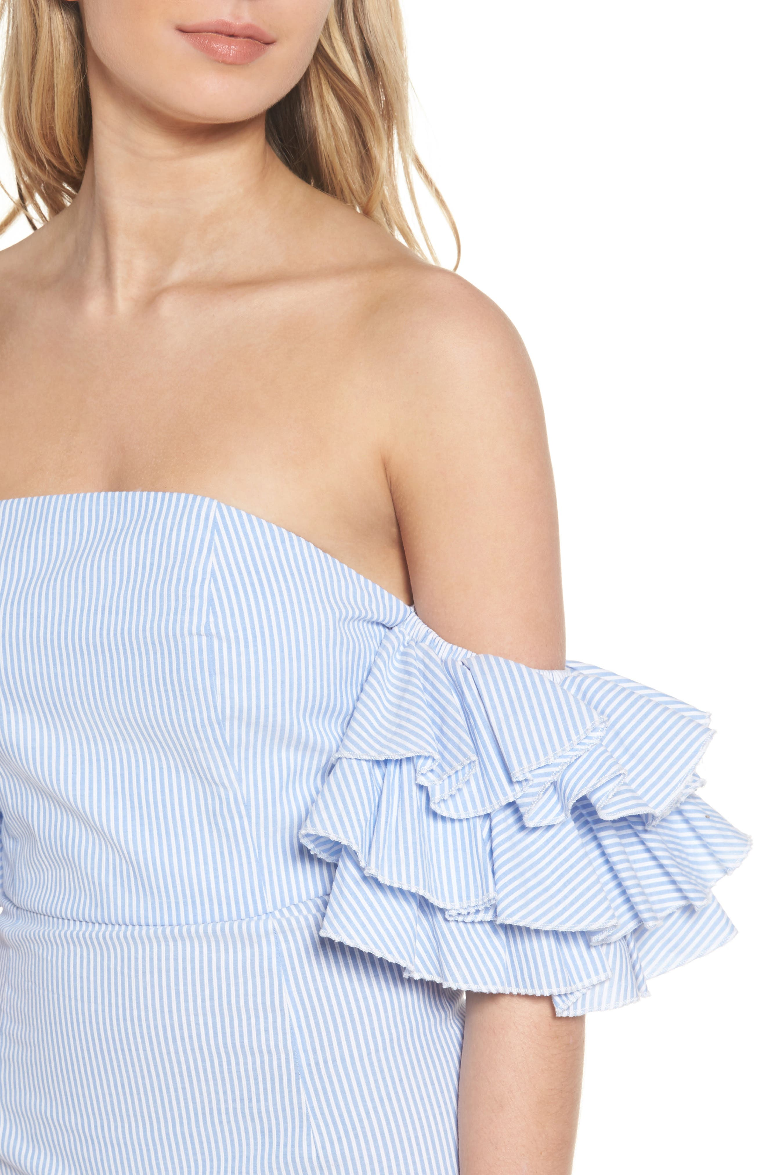The Malibu Off the Shoulder Dress,                             Alternate thumbnail 6, color,                             Pinstriped Blue
