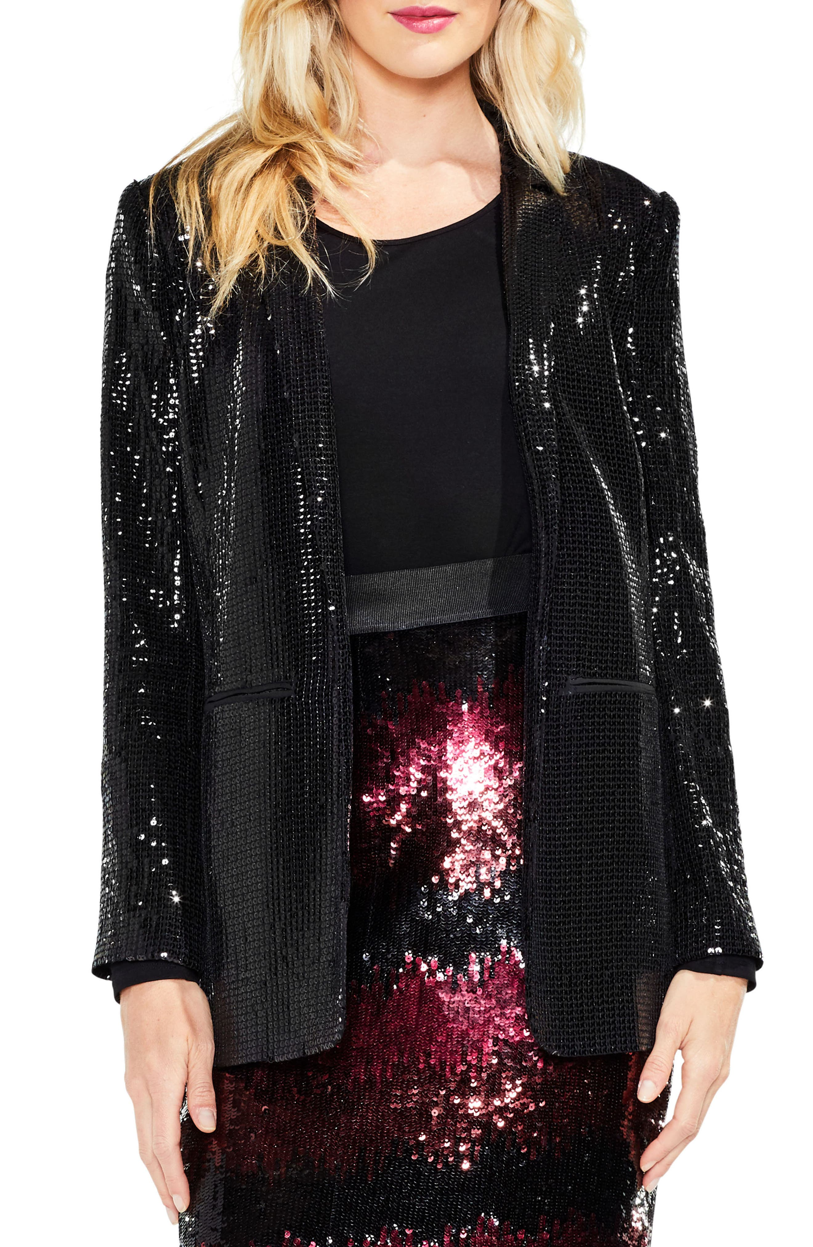 Sequin Jacket,                             Main thumbnail 1, color,                             Rich Black