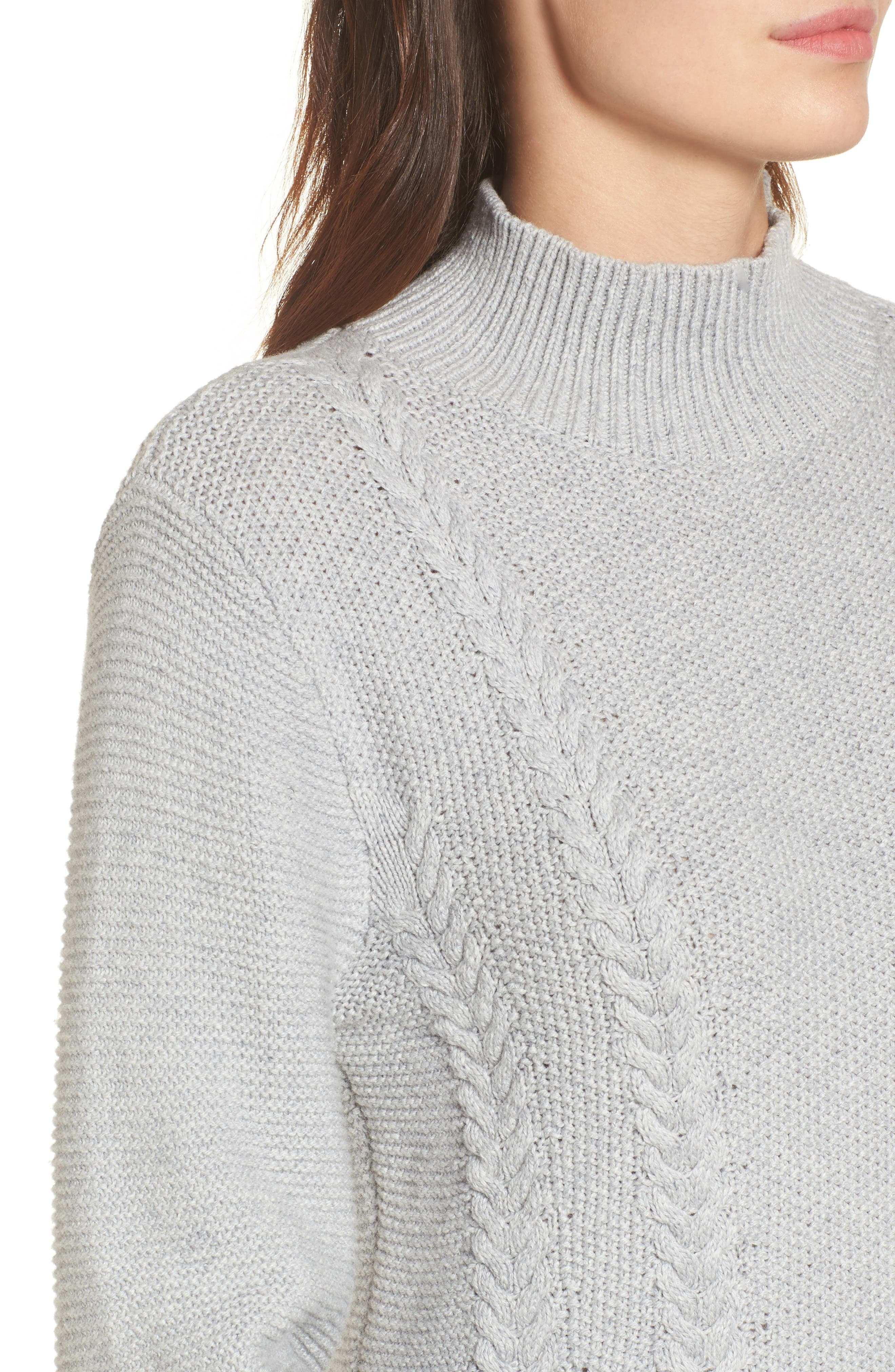 Cable Knit Sweater Dress,                             Alternate thumbnail 4, color,                             Grey Heather