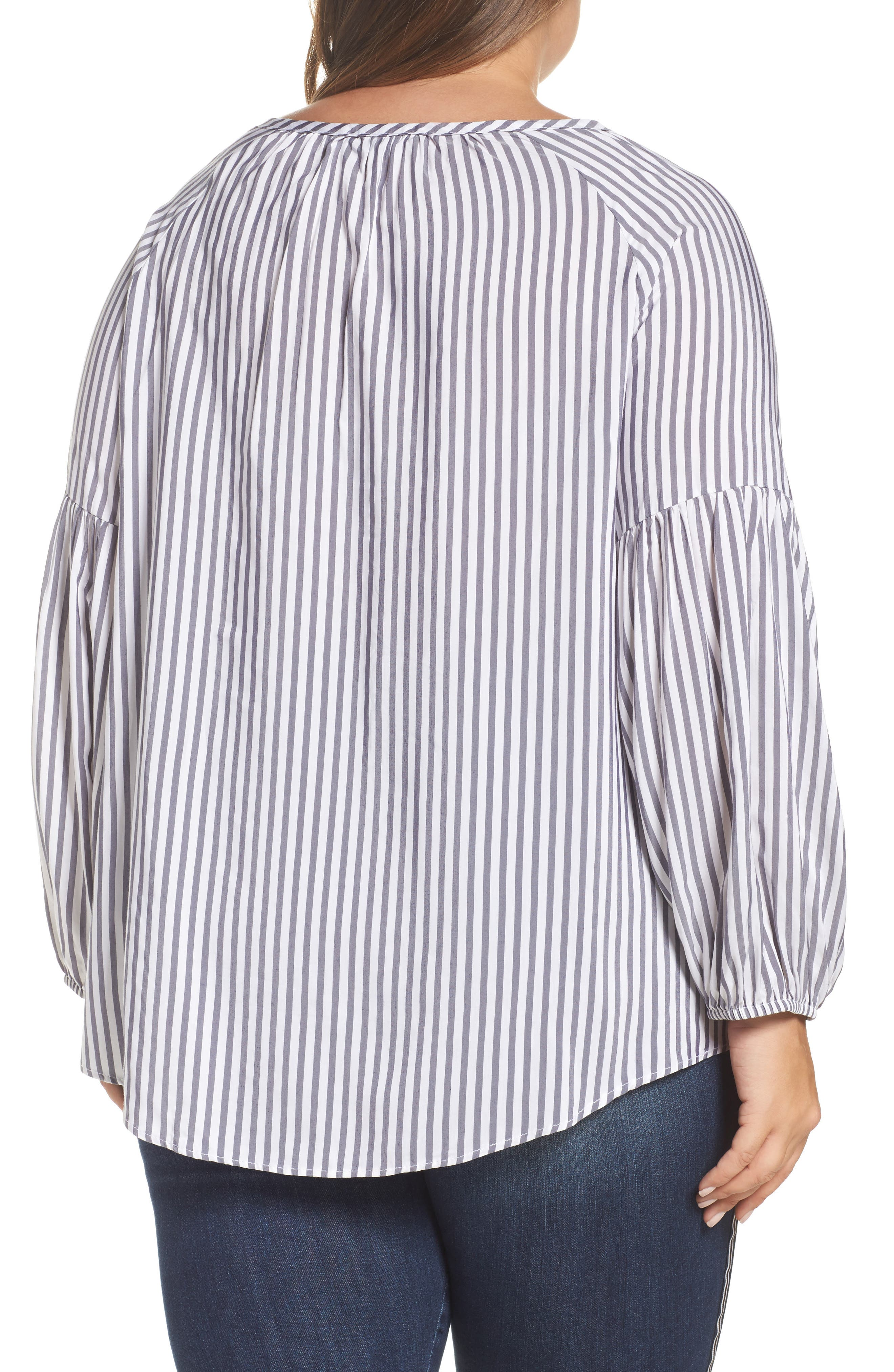 Gathered Sleeve Stripe Blouse,                             Alternate thumbnail 2, color,                             White