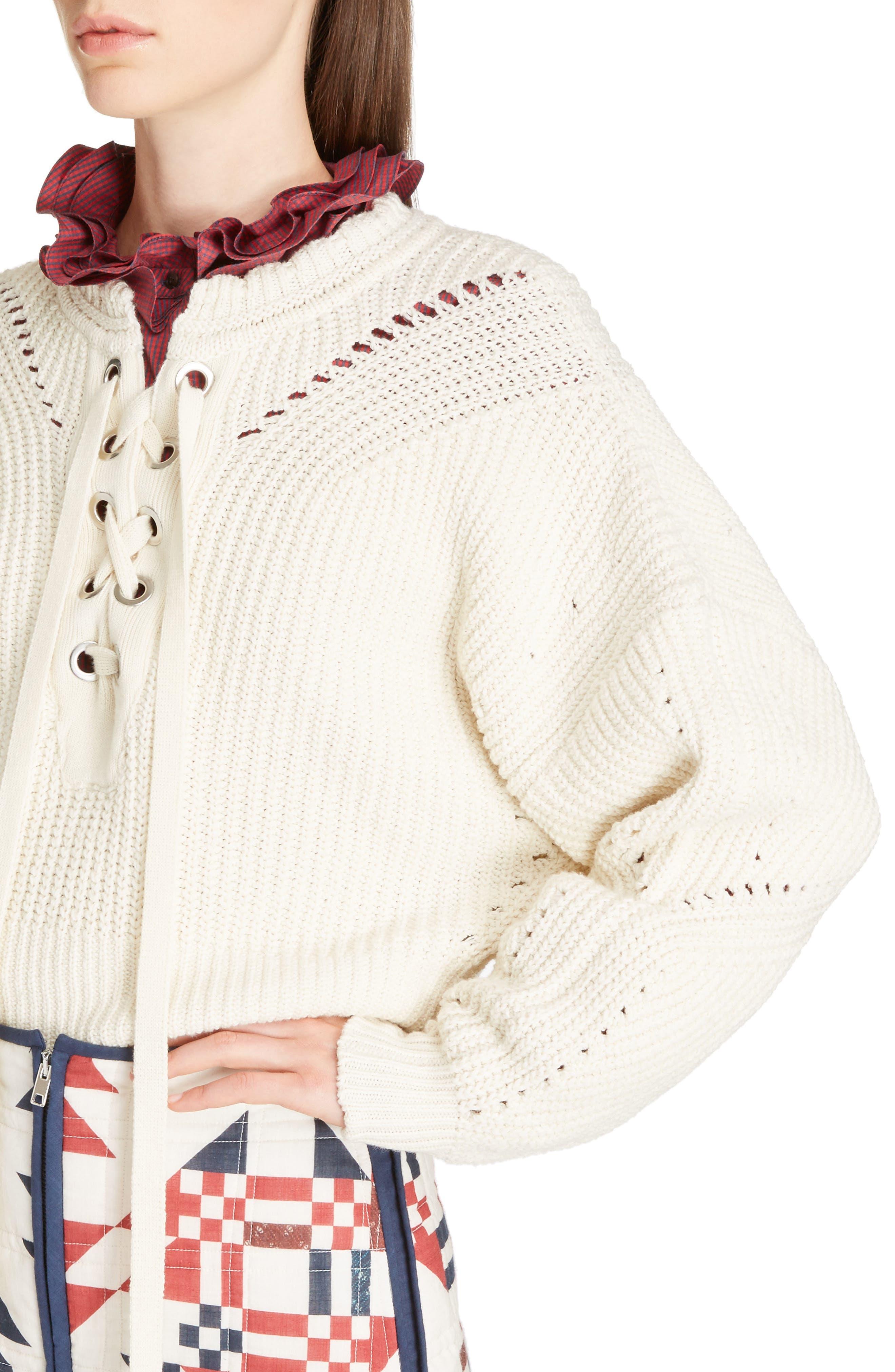 Laley Cotton & Wool Blend Sweater,                             Alternate thumbnail 4, color,                             Ecru