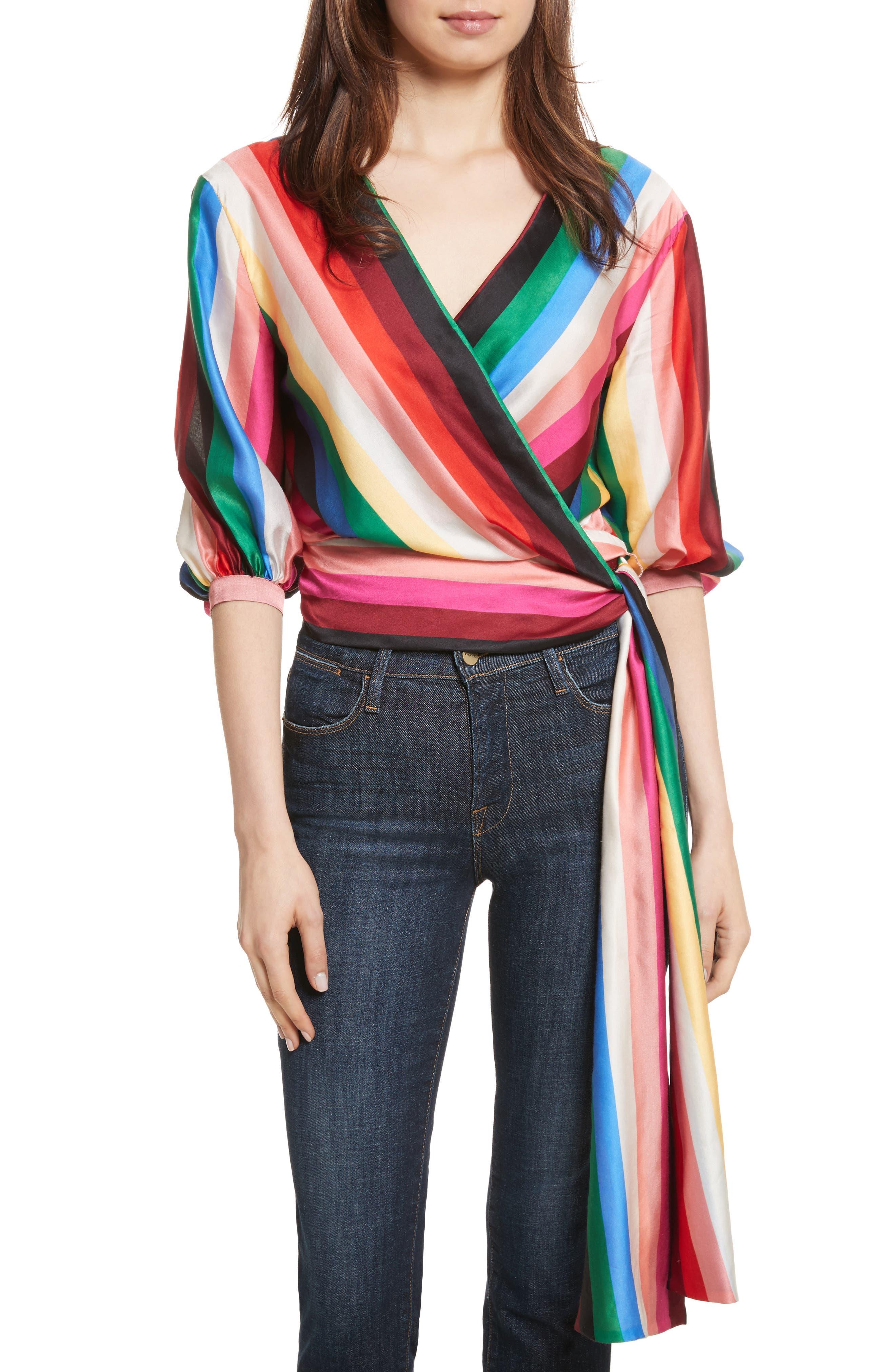 Dyanna Wrap Front Blouson Top,                         Main,                         color, Rainbow Stripe