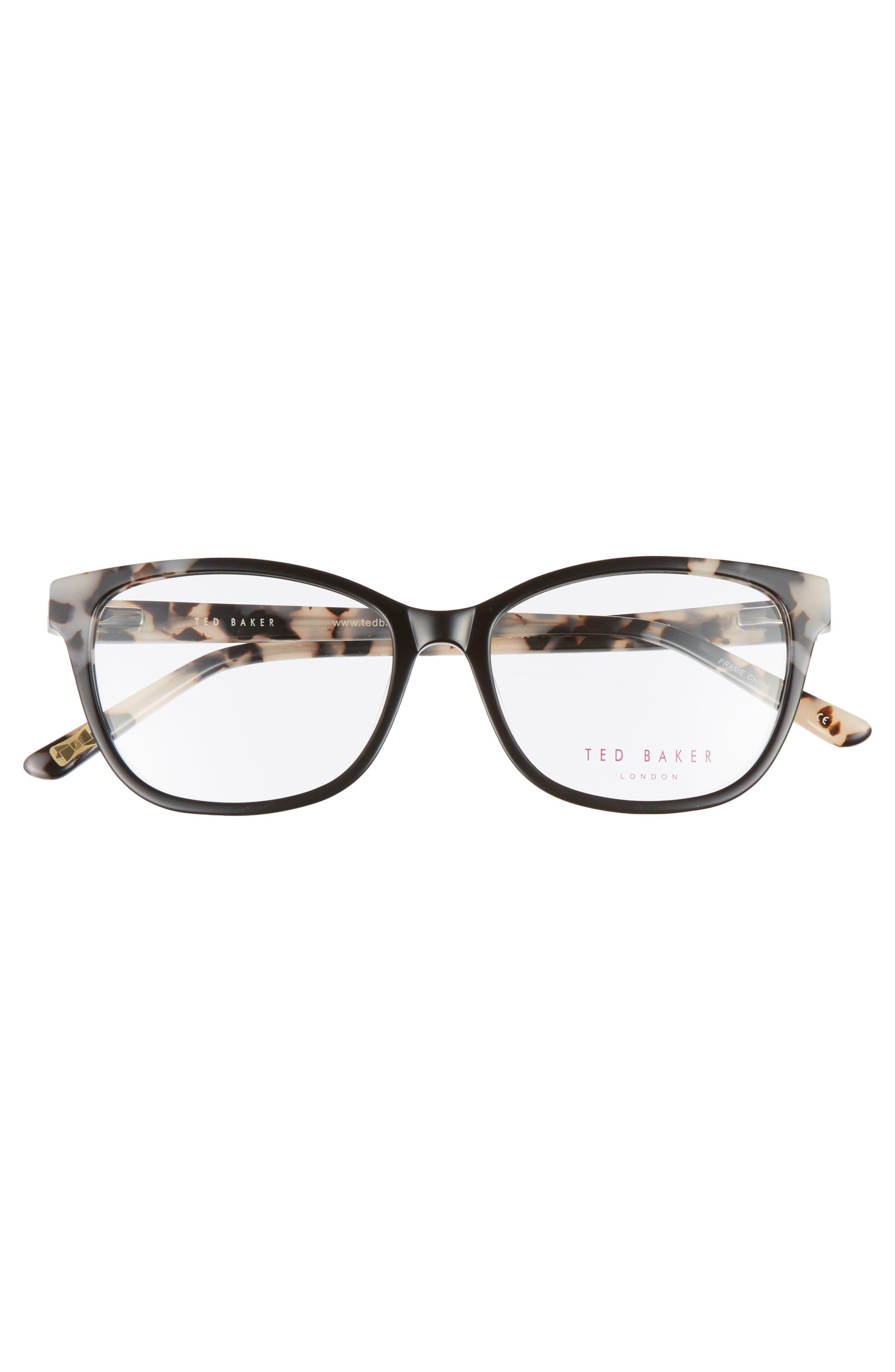 52mm Square Optical Glasses,                             Alternate thumbnail 3, color,                             Black